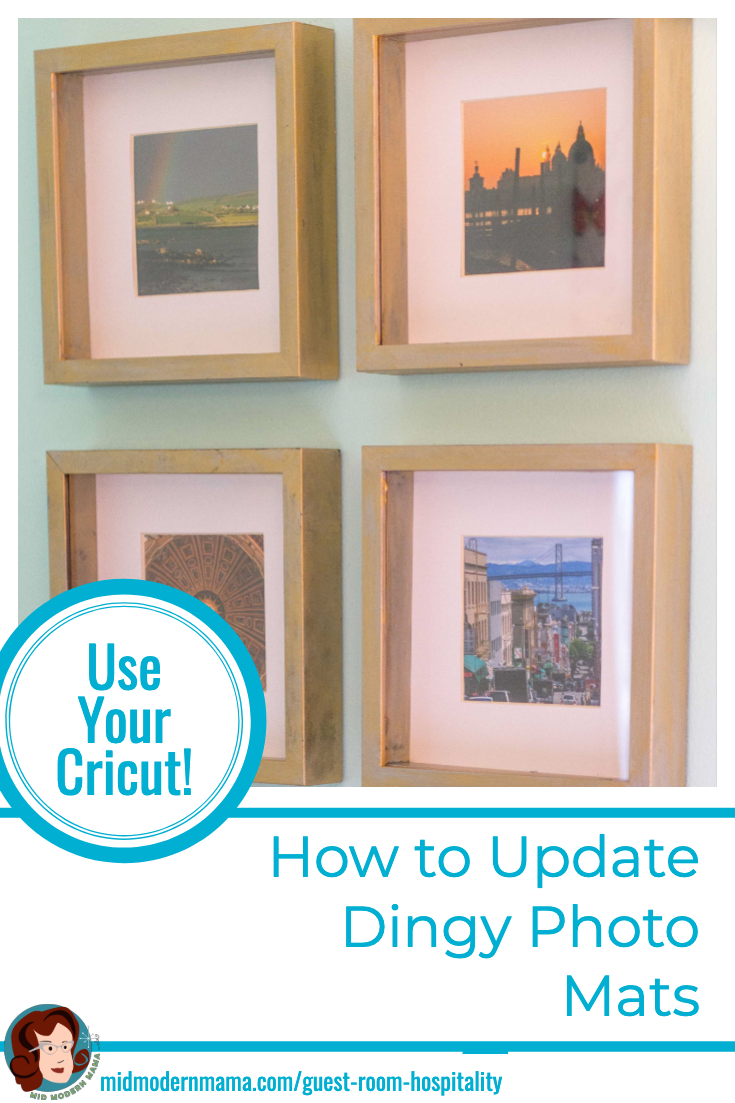 One of the easiest ways to update your photo frames is to change the color of your mats. This tutorial gives you DIY ideas and instructions for how to make your own mats using a Cricut or Silhouette -- or even a good knife. These simple matting ideas will bring your pictures back to life. Also includes: frames, framing, repainting frames, and repurposing. #diy #photography #framingideas