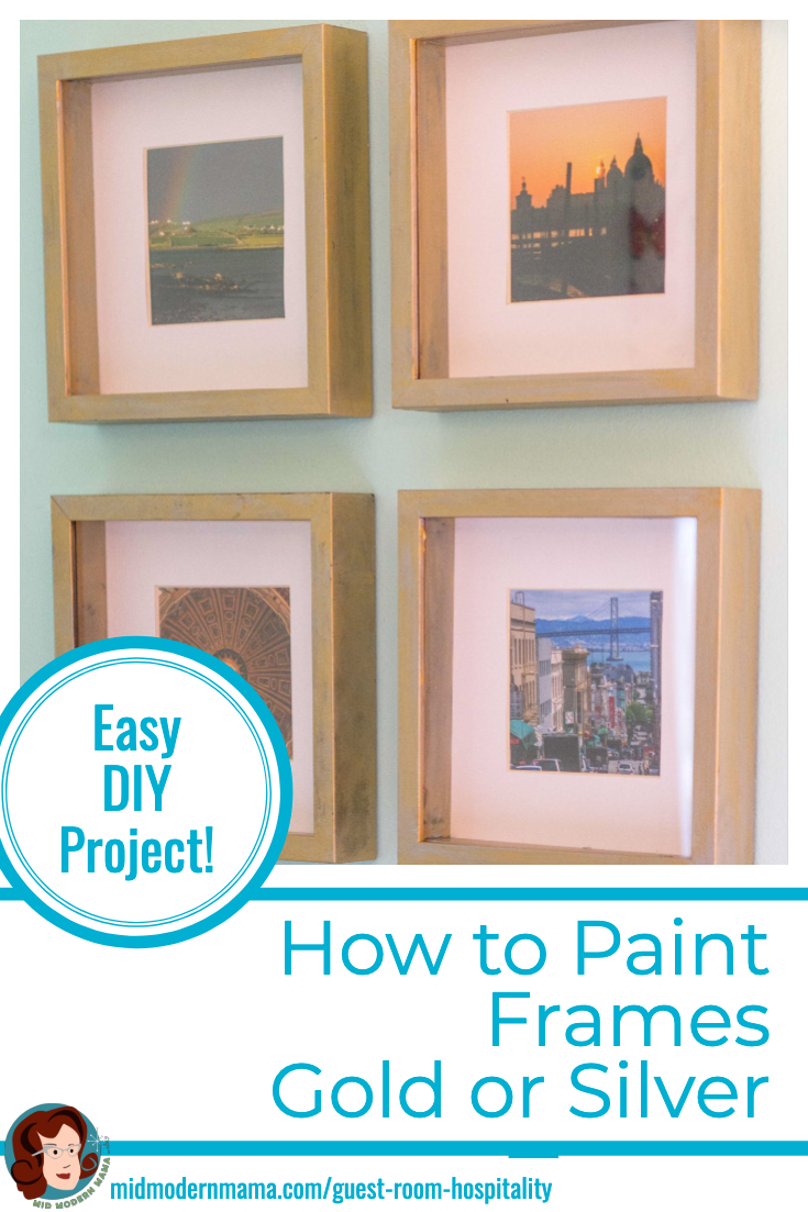 Update your picture frames with this simple DIY tutorial. Paint frames gold or silver for a vintage look perfect with any boho, farmhouse or creative decor. Easy on the budget, these ideas and tips show you how to update your look without spending much money. Also: painting techniques, gilded, golden, IKEA hack, matting ideas, thrift store finds. #diy #repurpose #framingideas