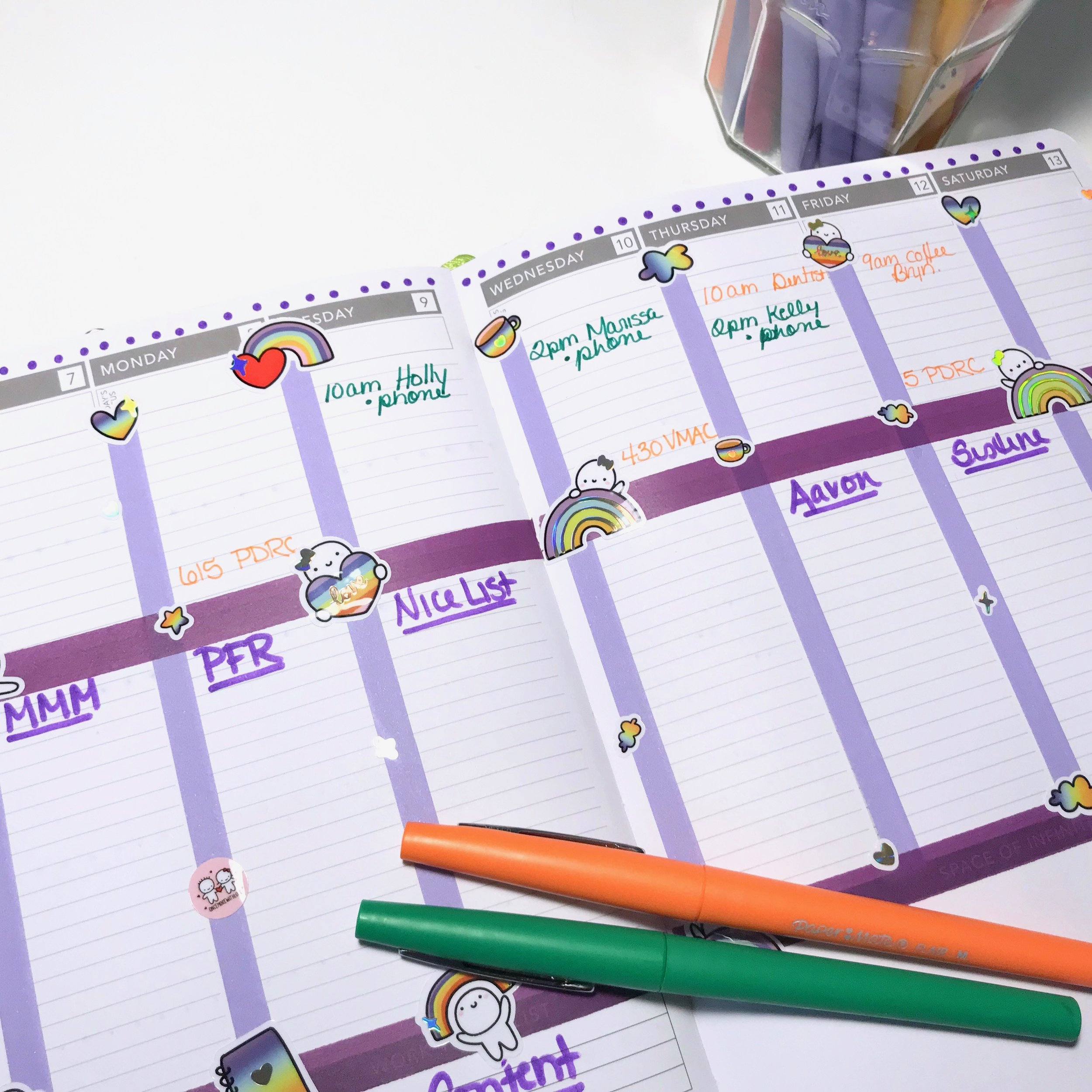 Color coded events and appointments are added to the calendar section of my weekly spread.