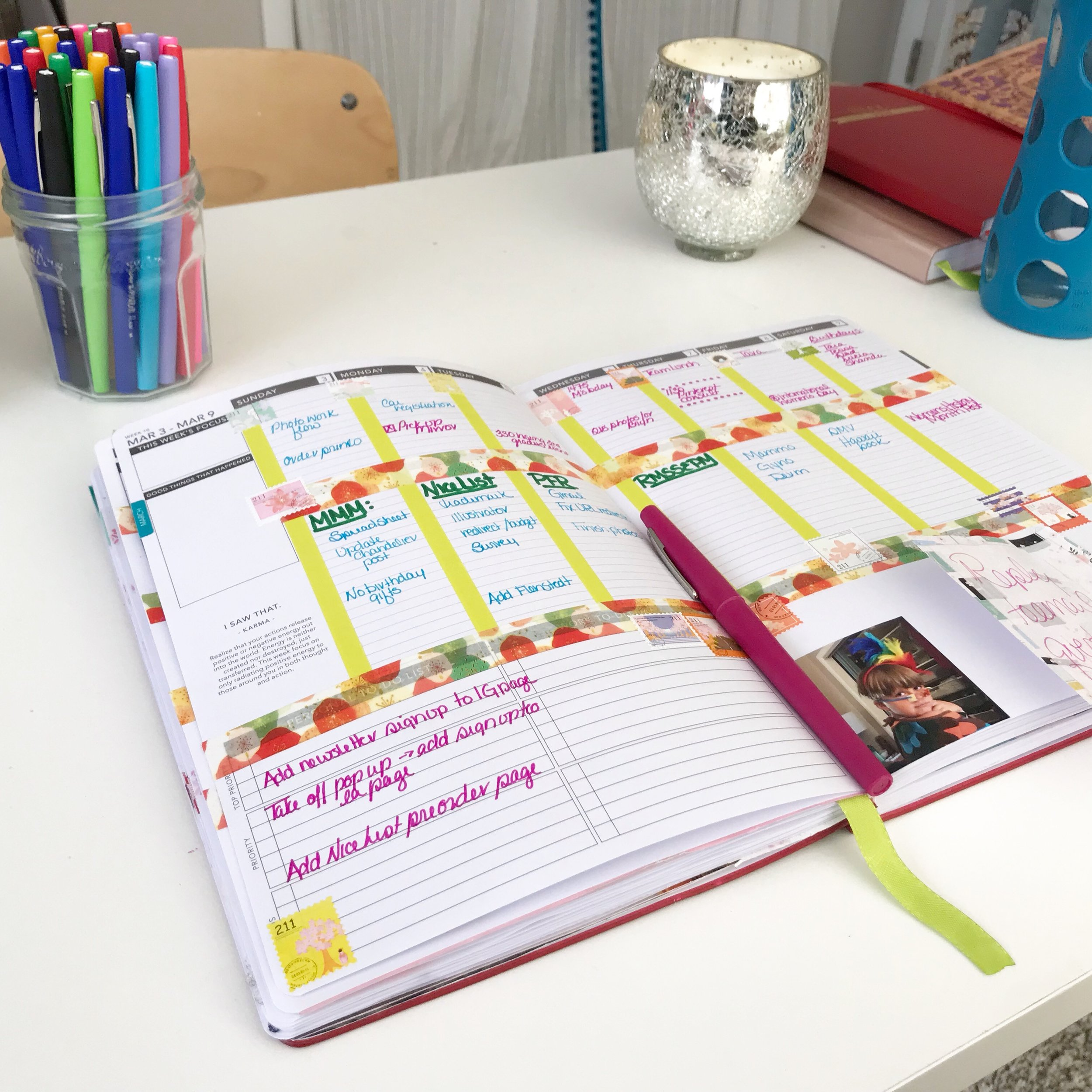 Washi tape and stickers make a plain planner more fun. Color code events, tasks, and projects. Simple layouts and great pen suggestions for the best planner.