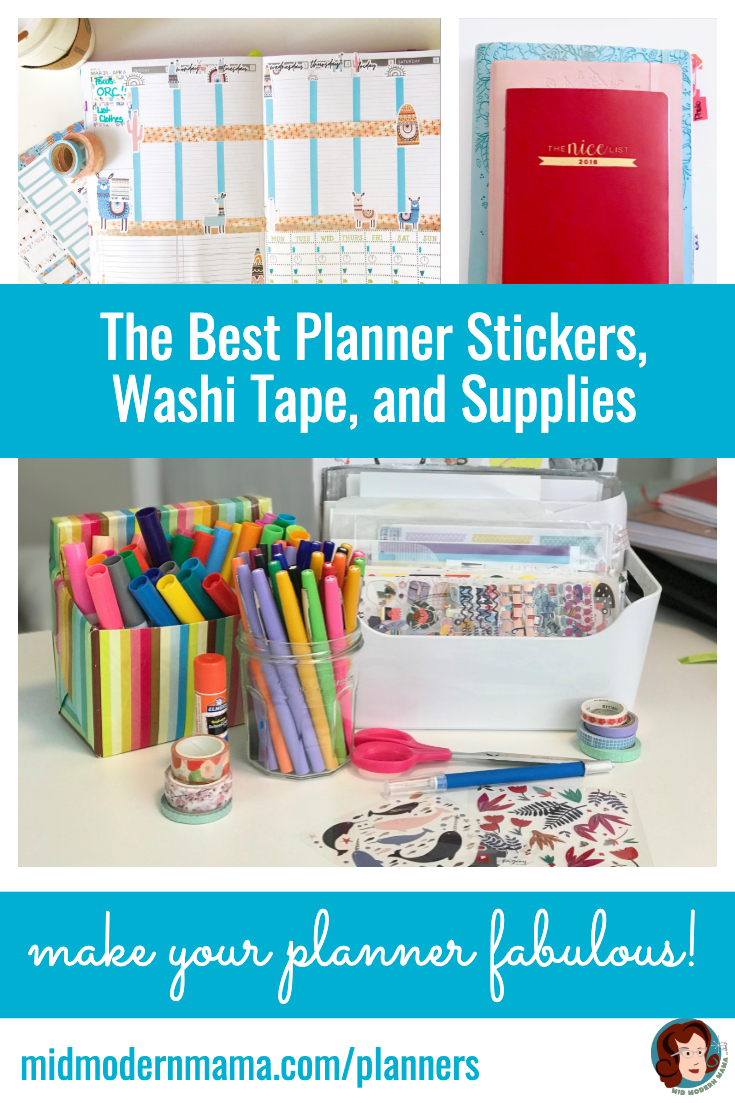 Personalize and customize your planner! Here are my favorite sources for washi tape, stickers, pens -- even photo stickers. Make your daily, weekly, or monthly spread all your own! Whether you are using a planner, an organizer, an agenda, or a printable in a notebook, everything is customizable with a few simple tools. Includes ideas, Etsy, kawaii, Japanese, subscriptions, budget, printable, easy.