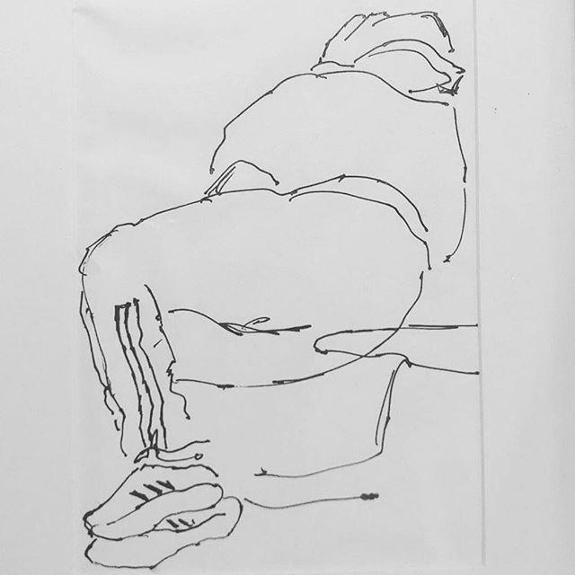 Homeless Man on Train Ink on paper.  #drawing #artist #lineart #linedrawing #cebroomfield #train #ink #pen #homeless