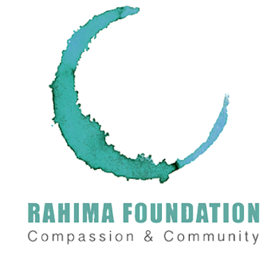 "The Rahima Foundation's logo. It shows a crescent in different shades of blue with the words ""Rahima Foundation Compassion & Community"" underneath it."