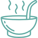 Drawing of a hot bowl of soup. There is a bowl and ladle coming out of the bowl with three squiggly lines on top imitating the steam of a hot liquid.