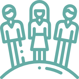 A drawing of three individuals standing together on top of Earth. The individual on the left is a man, there is an indication that he has a physical disability of some sort in his right leg. The individual in the middle is a woman. The individual on the right is a man.