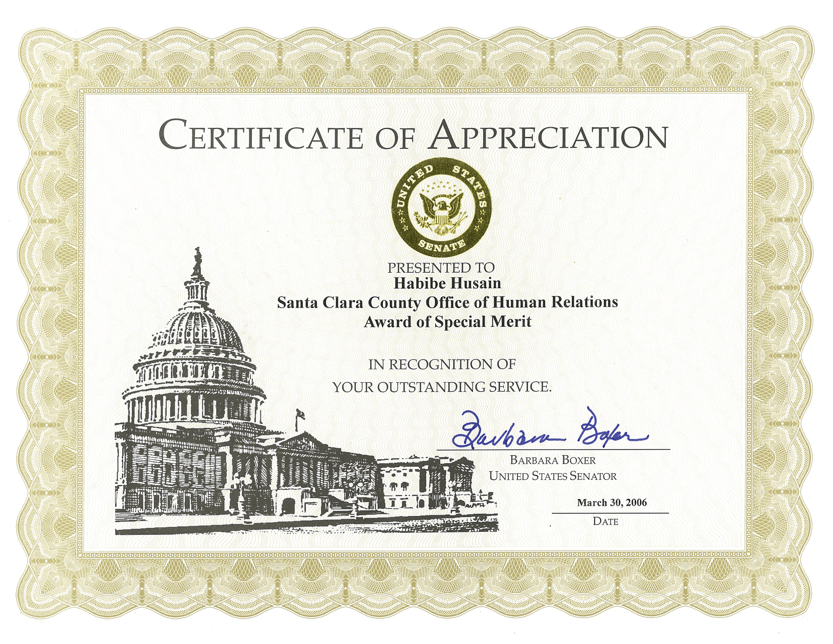 Certificate presented by Barbara Boxer from the United States Senate