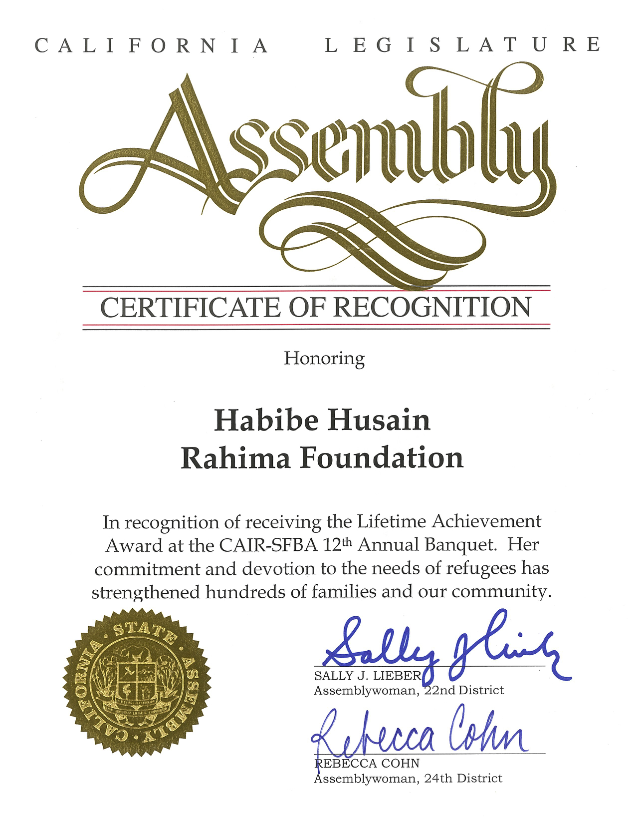 Certificate from Assemblywoman Rebecca Cohn and Sally Lieber on behalf of California Legislature Assembly