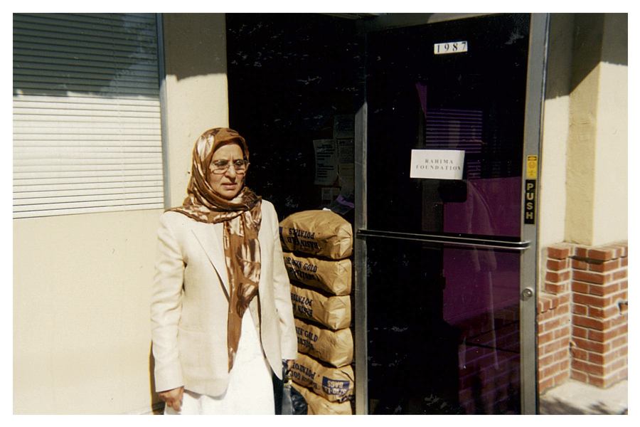 Habibe Husain (Rahima's founder) standing outside the Bellamy Street office