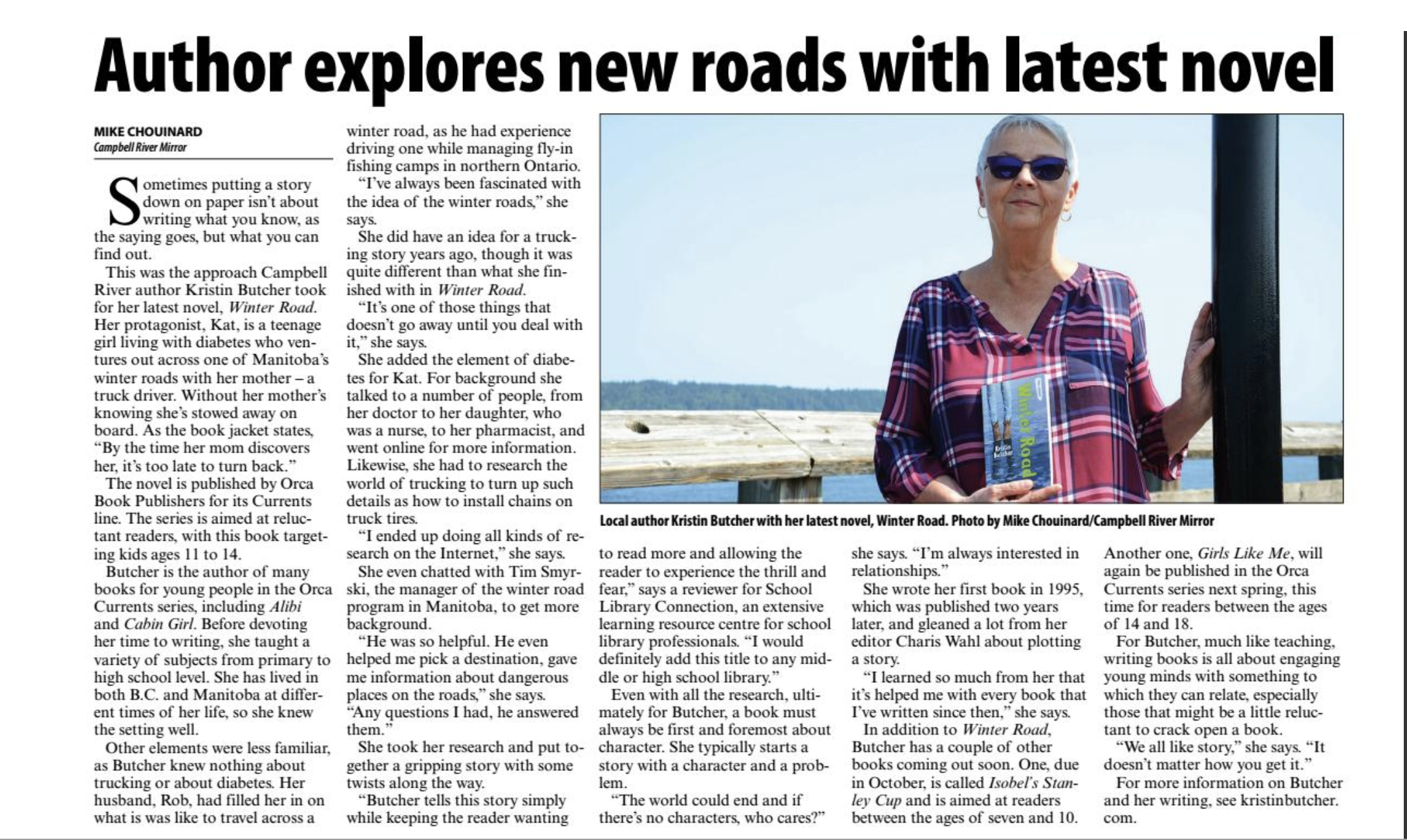 Winter Road  is featured in the Campbell River Mirror.  p. 11 of the Living section