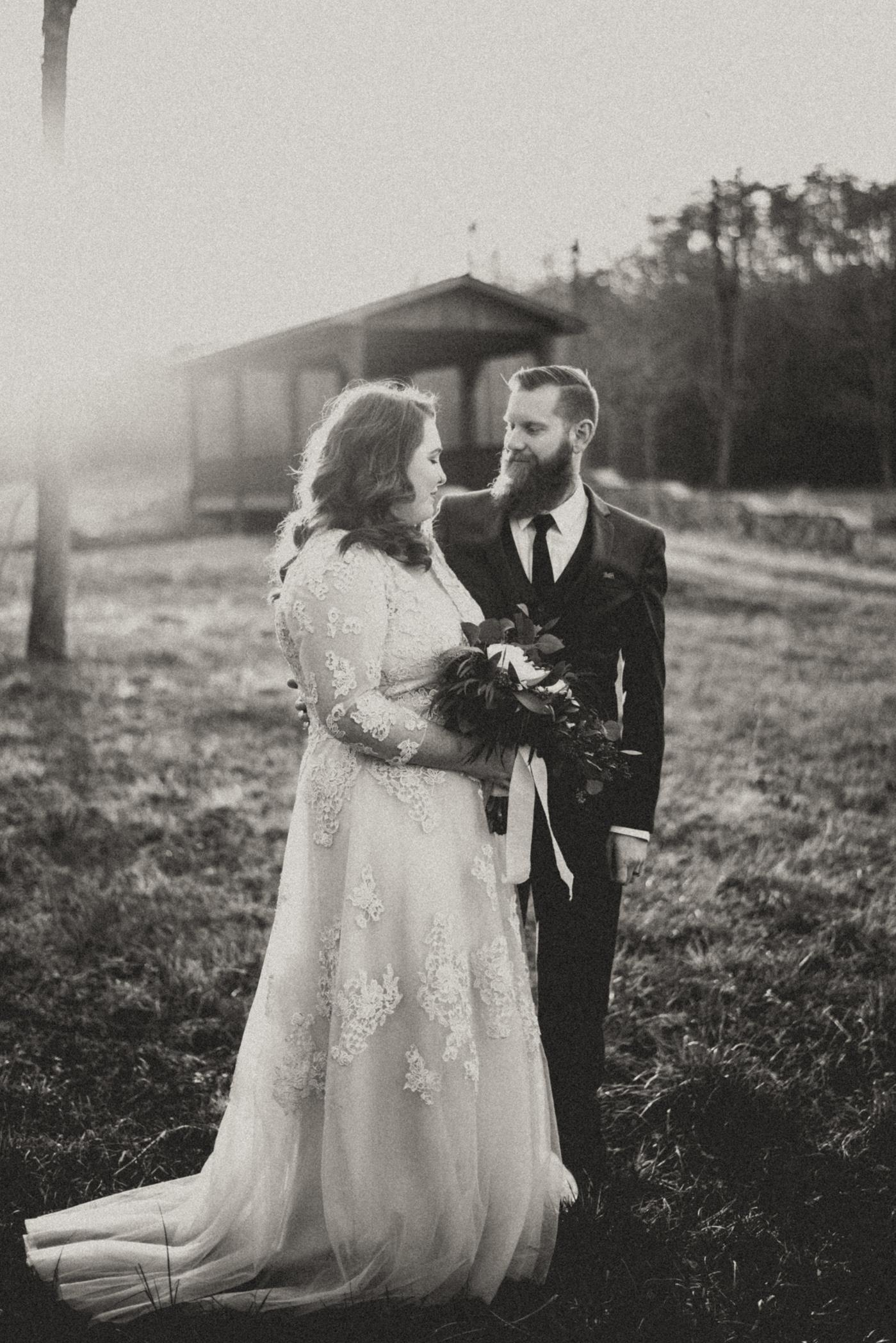 mountain bridge bride and groom
