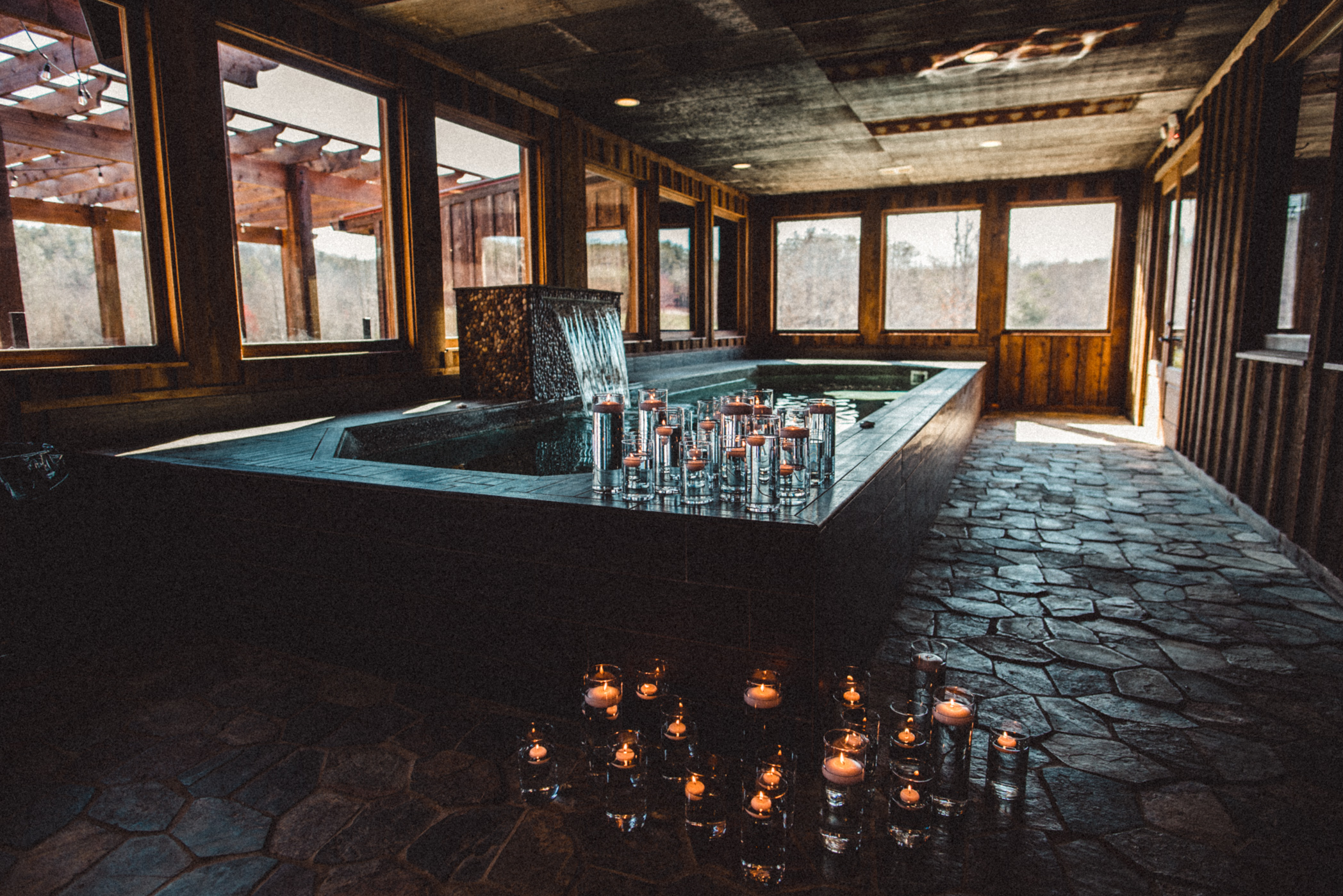 wedding pool and candles