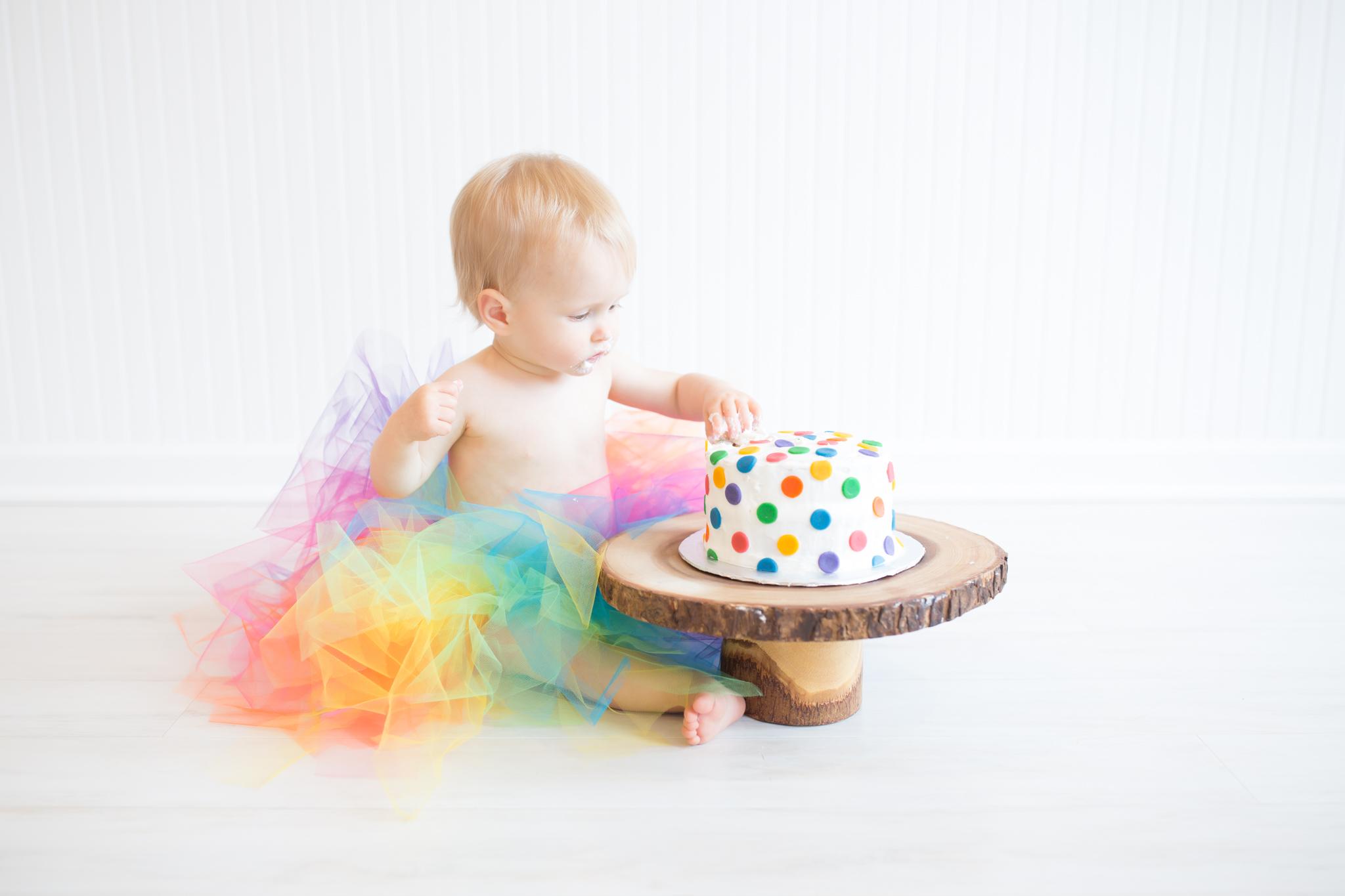 Milestone cake smash Newborn Studio Session | Cara Peterson Photography Rockford IL-10.jpg