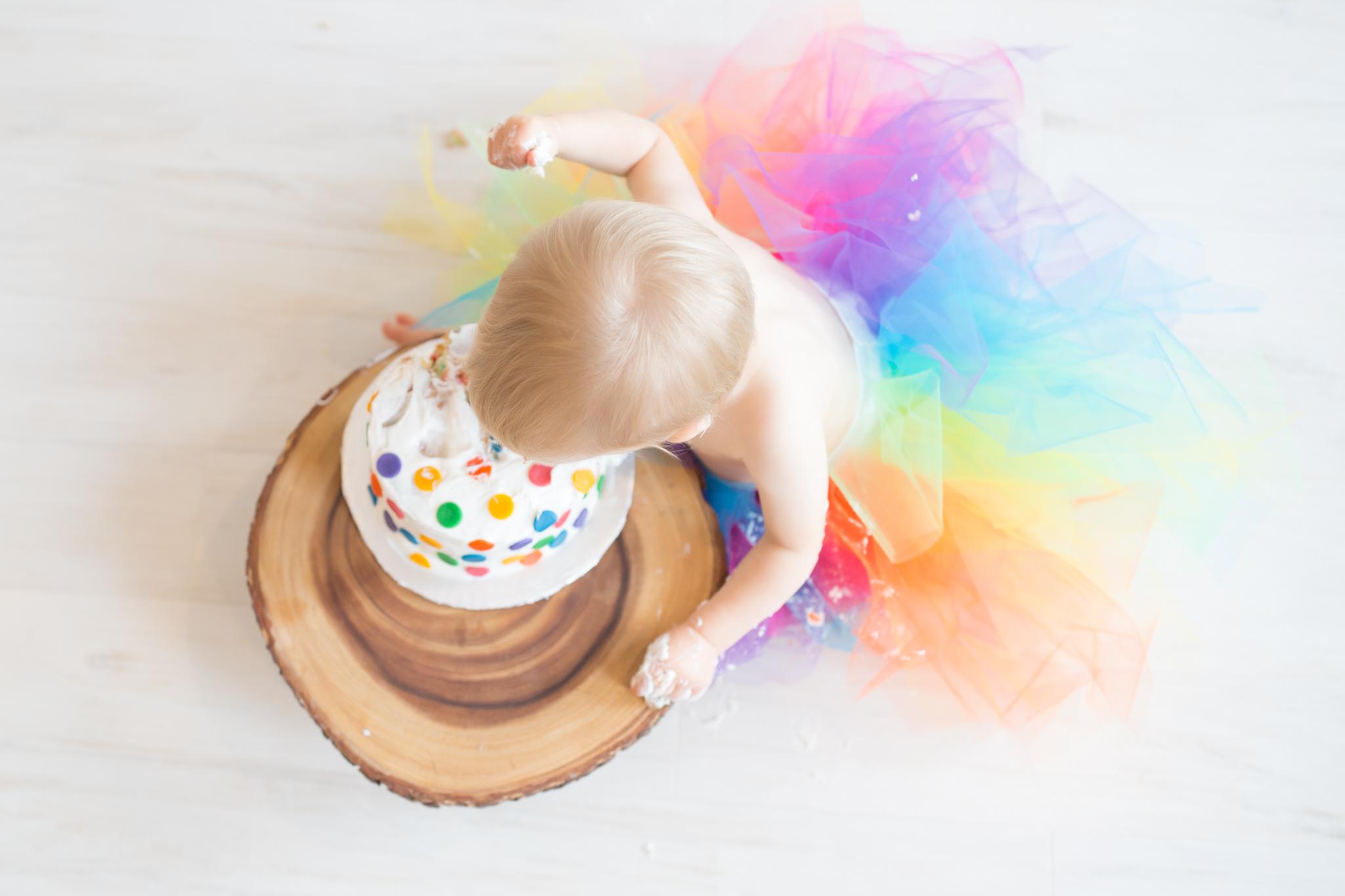Milestone cake smash Newborn Studio Session | Cara Peterson Photography Rockford IL-17.jpg