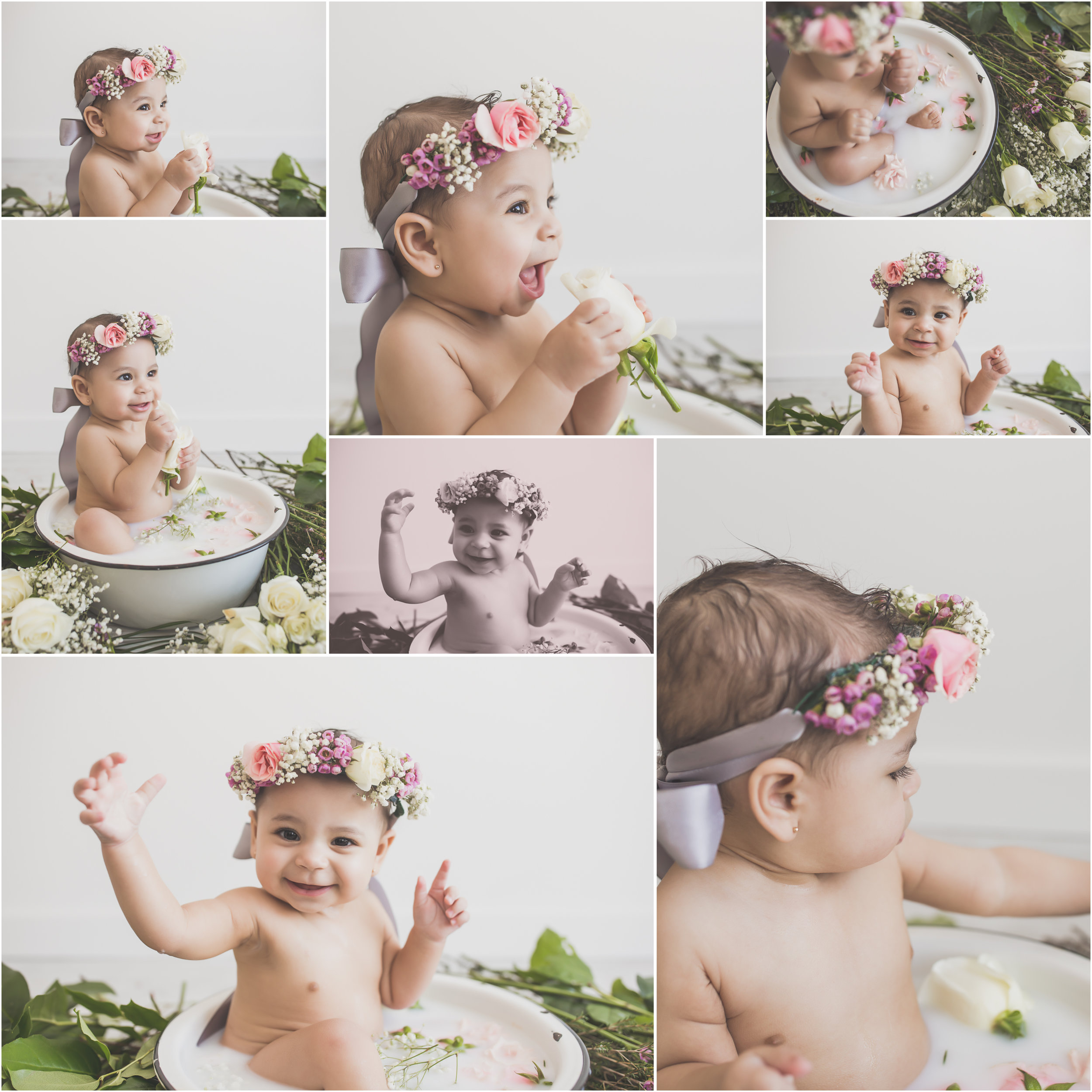 2 Amaya Milk Bath Session sitter milestone 6 months 7 Cara Peterson Photography collage Rockford IL -70.jpg
