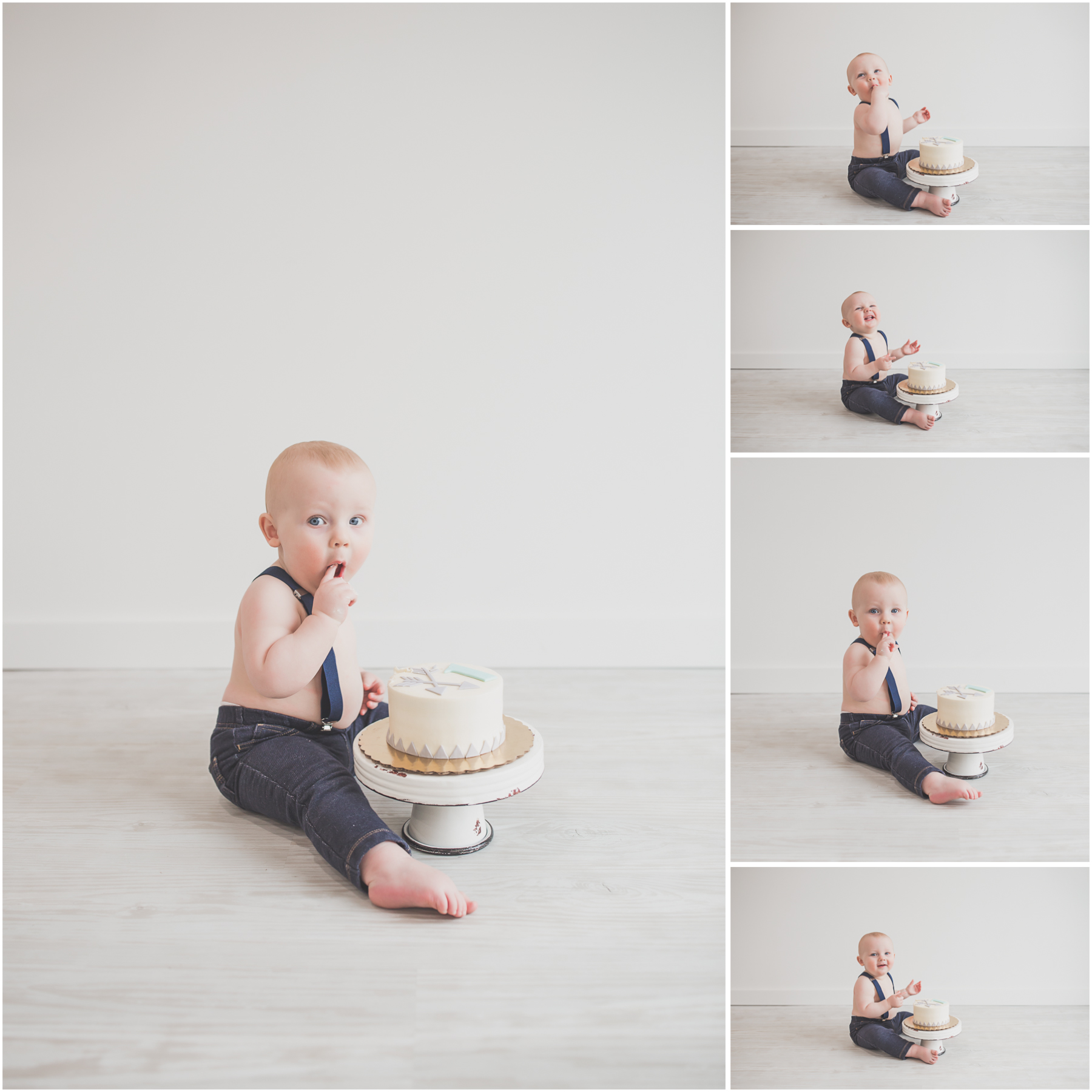2 Cade 1 Year Old Cake Smash collage Milestone Session Cara Peterson Photography Rockford IL -1.jpg