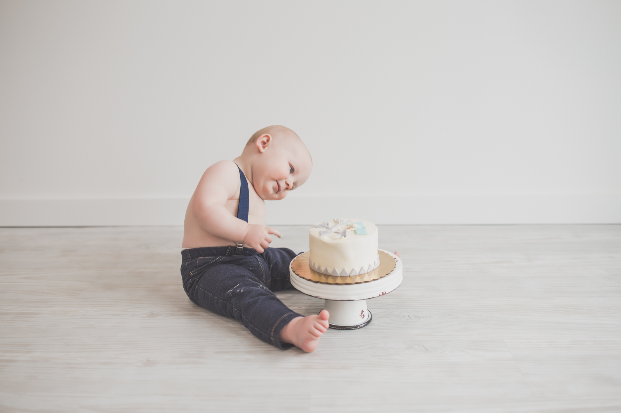 Cade 1 Year Old Cake Smash Milestone Session Cara Peterson Photography Rockford IL -25.jpg