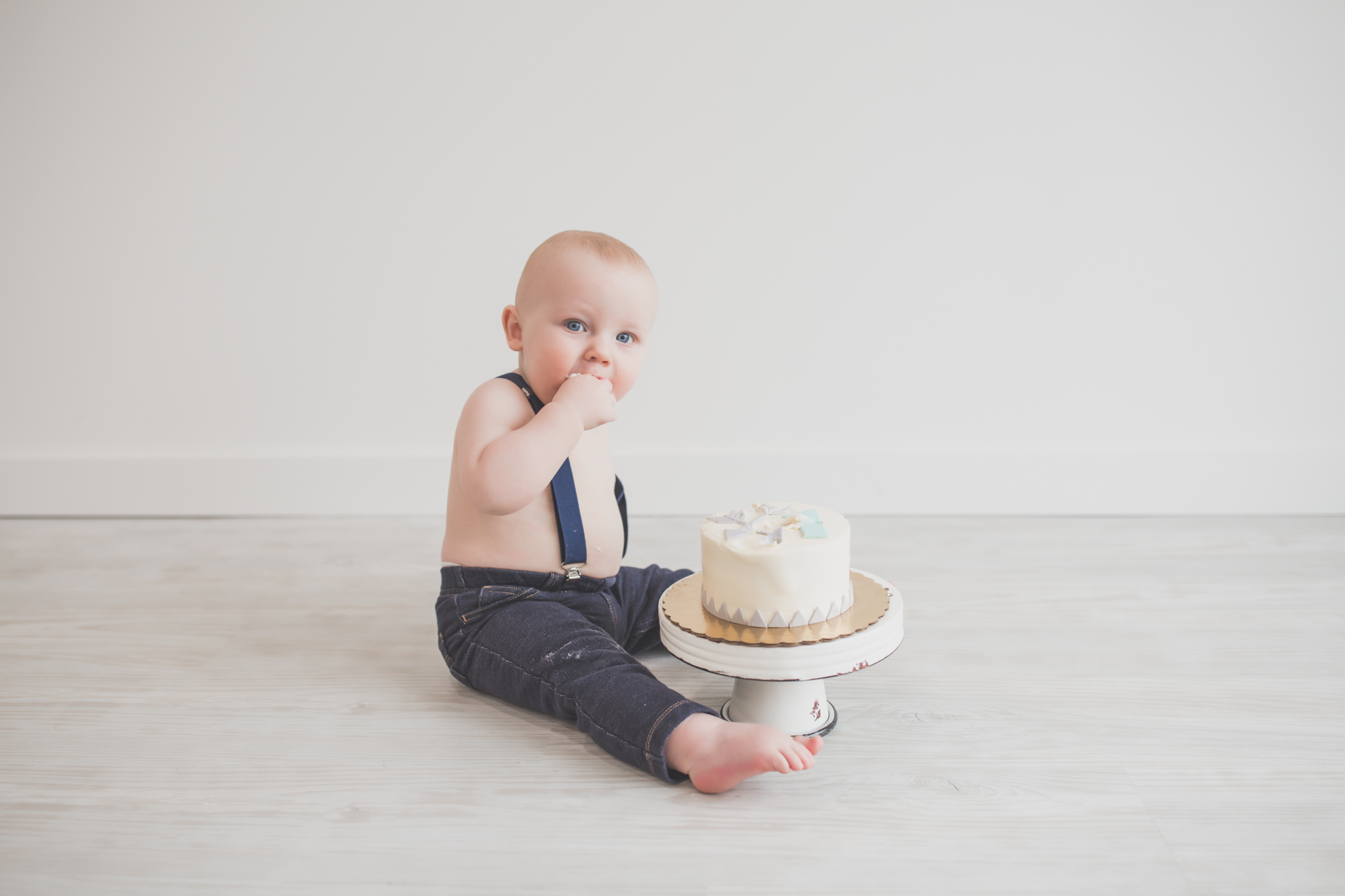 Cade 1 Year Old Cake Smash Milestone Session Cara Peterson Photography Rockford IL -26.jpg