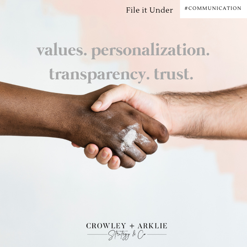 Values. Personalization. Transparency. Trust.
