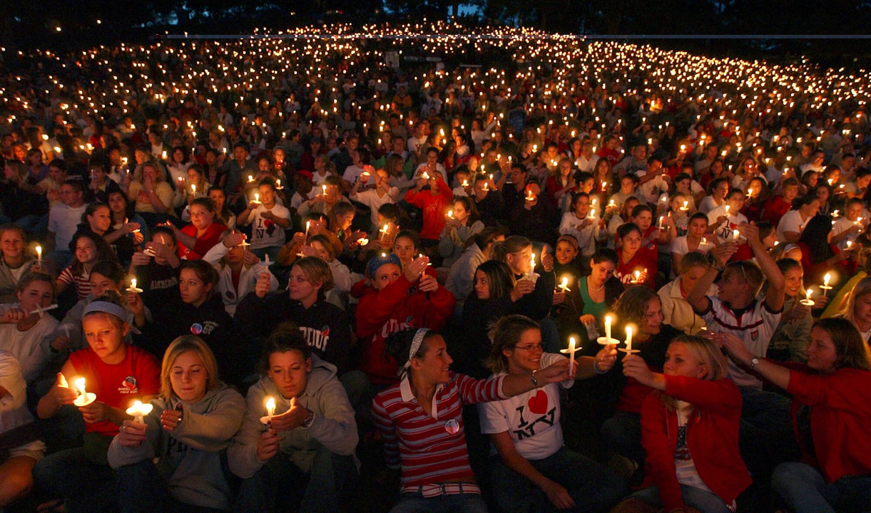 This photo from Purdue University shows our national solidarity in the aftermath of the 9/11 terrorist attacks.