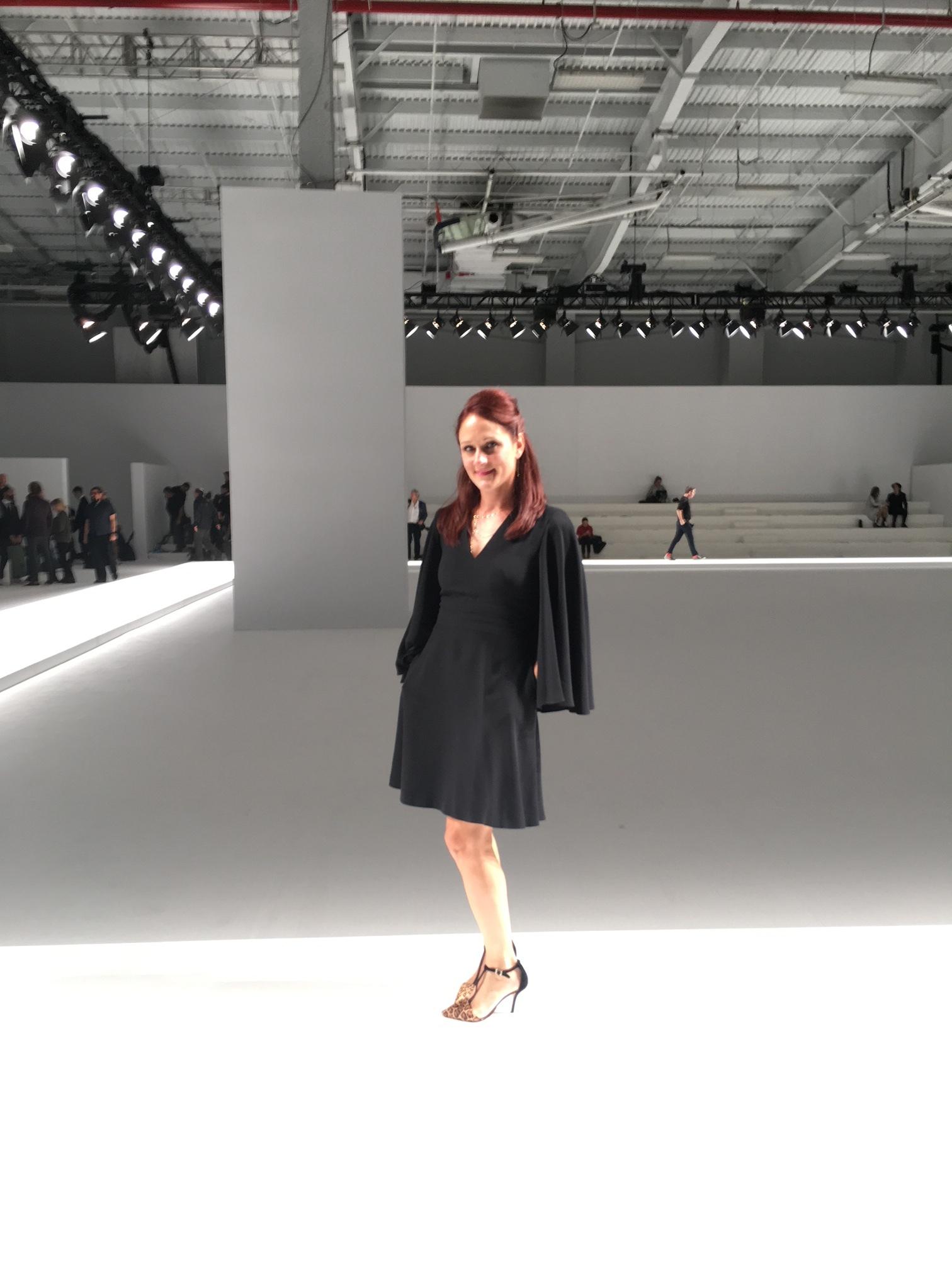 Me in an Alexander McQueen cape dress