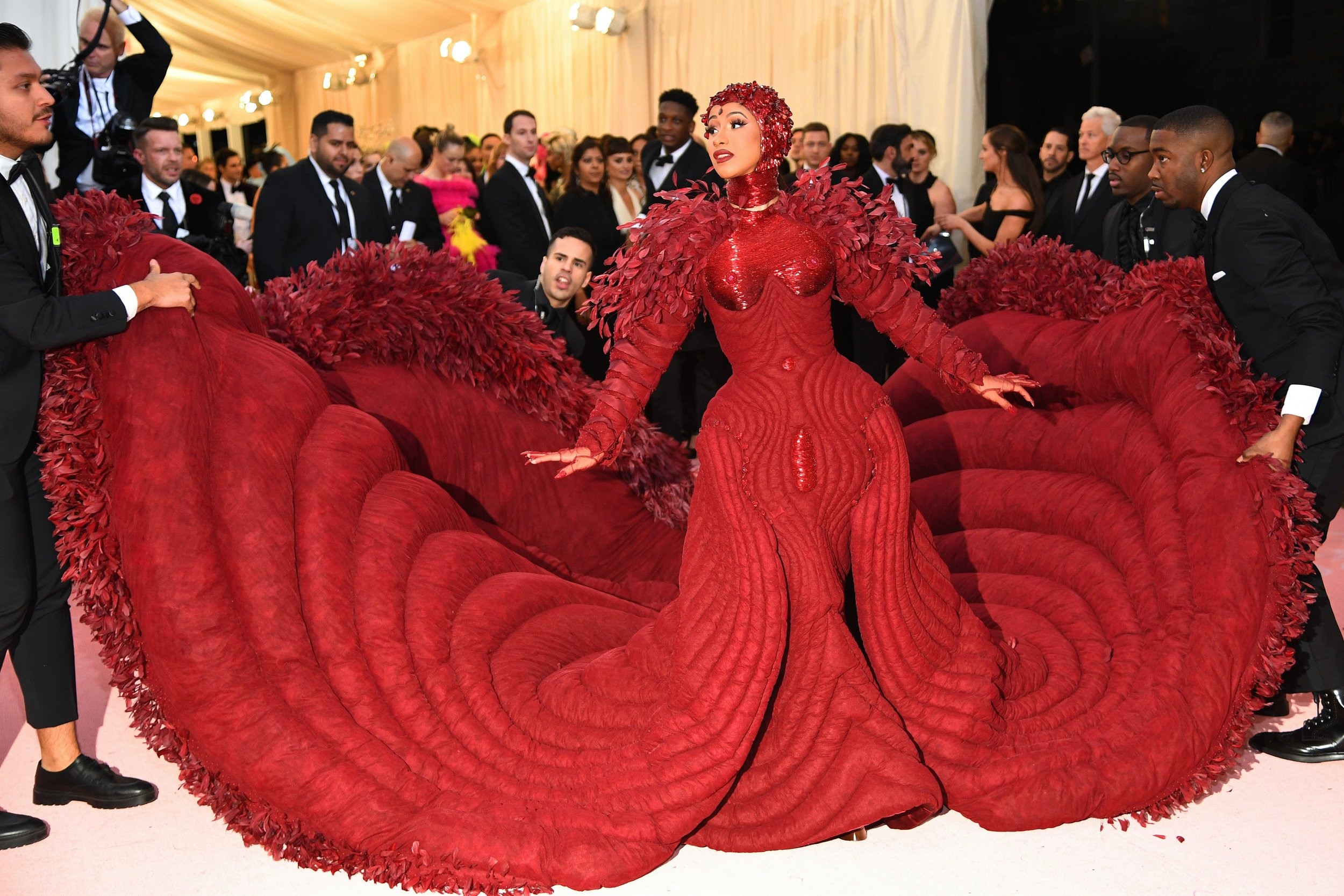 Cardi B could also go camp-ing with that sleeping bag-esque train. She gets extra points for the double-entendre.