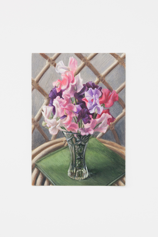 Louise Sartor,  Sweet Peas , 2018, gouache and watercolor pencil on paper, 9 3/8 x 6 5/8 in (24 x 17 cm)