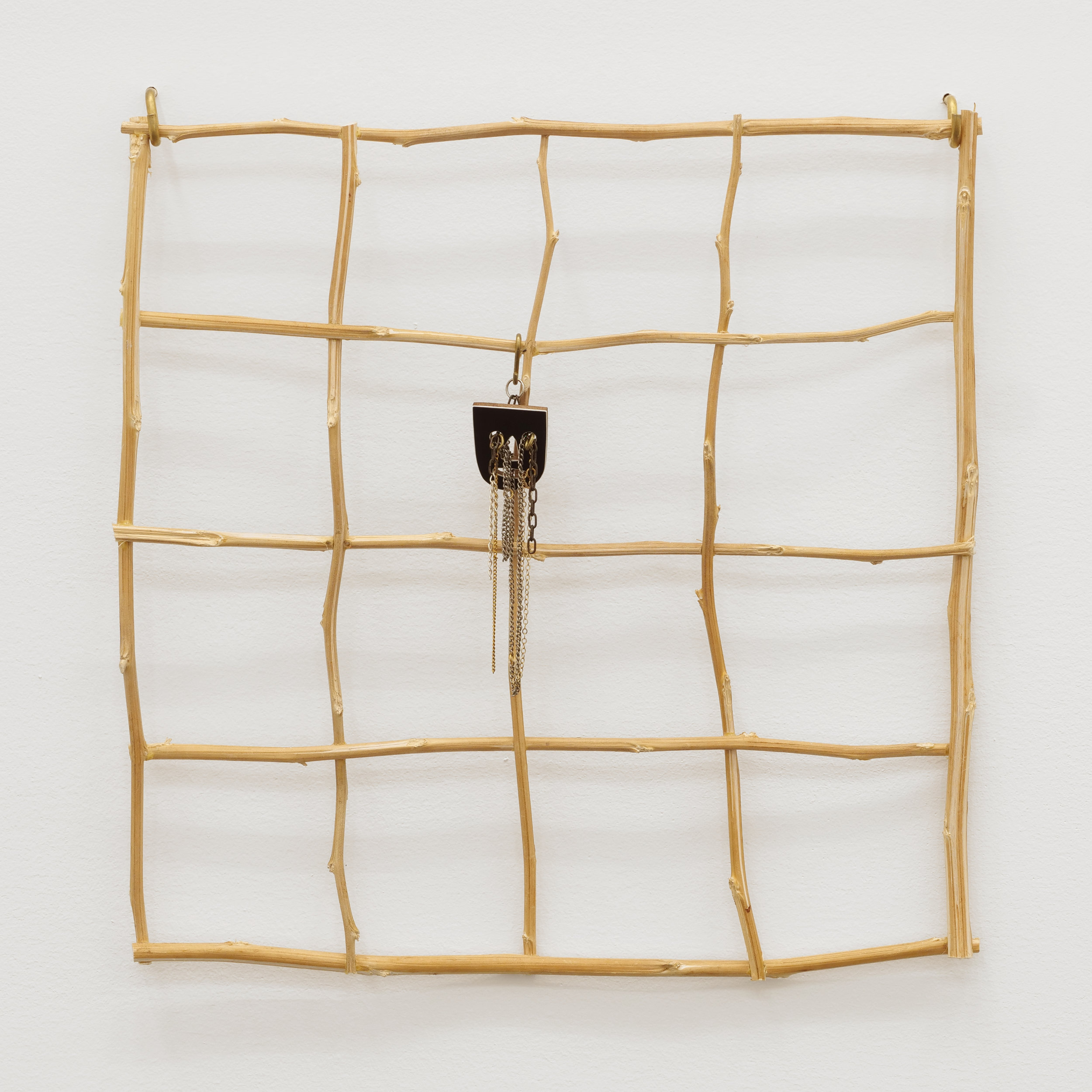 Will Rogan,  Quad , 2018, Hemp, wood, paint, chain, 22 x 18 x 1/2 in