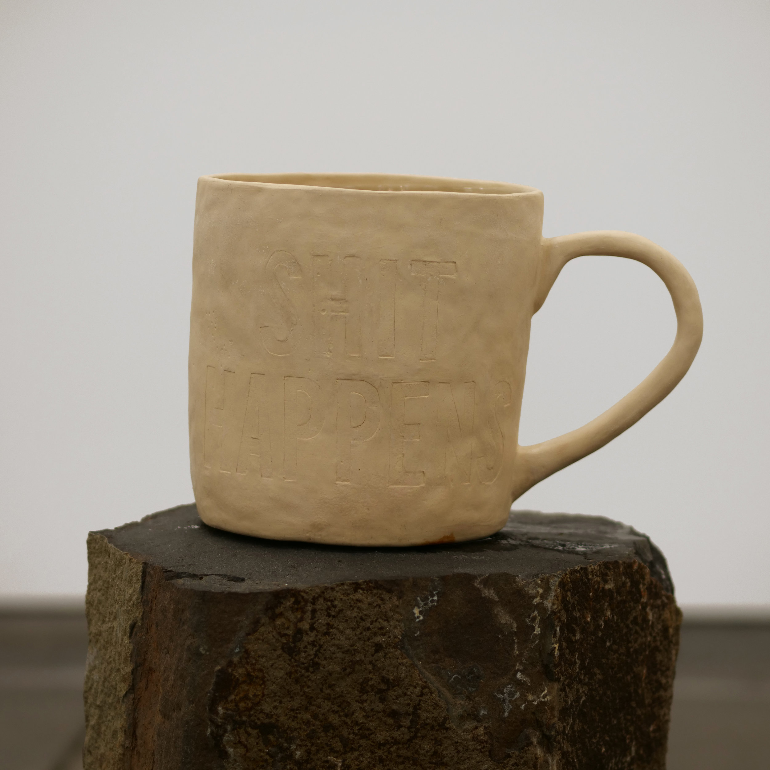 Will Rogan,  Filter (Shit Happens 1) , 2018, Ceramic, sea water, stone, 37 x 19 1/2 x 11 in