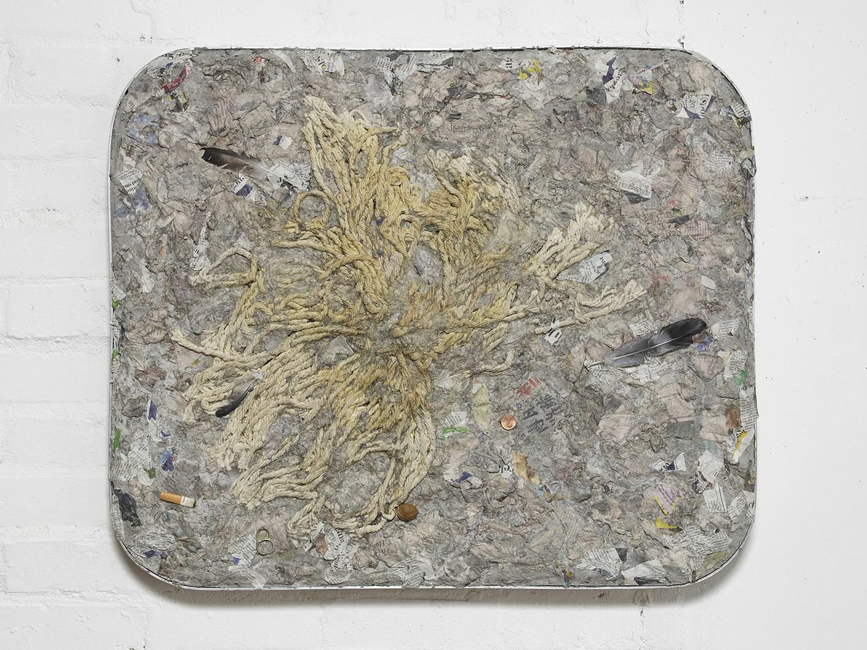 Liz Craft,  To Live & Die in LA , 2018, Papier-mache, mixed media, aluminum, wood, 67.3 x 80 x 5 cm / 26.5 x 31.5 x 2 in