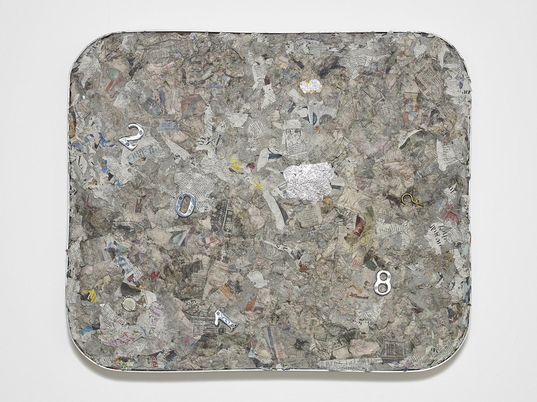 Liz Craft,  2000 Something , 2018, Papier-mache, mixed media, aluminum, wood, 67.3 x 80 x 5 cm / 26.5 x 31.5 x 2 in