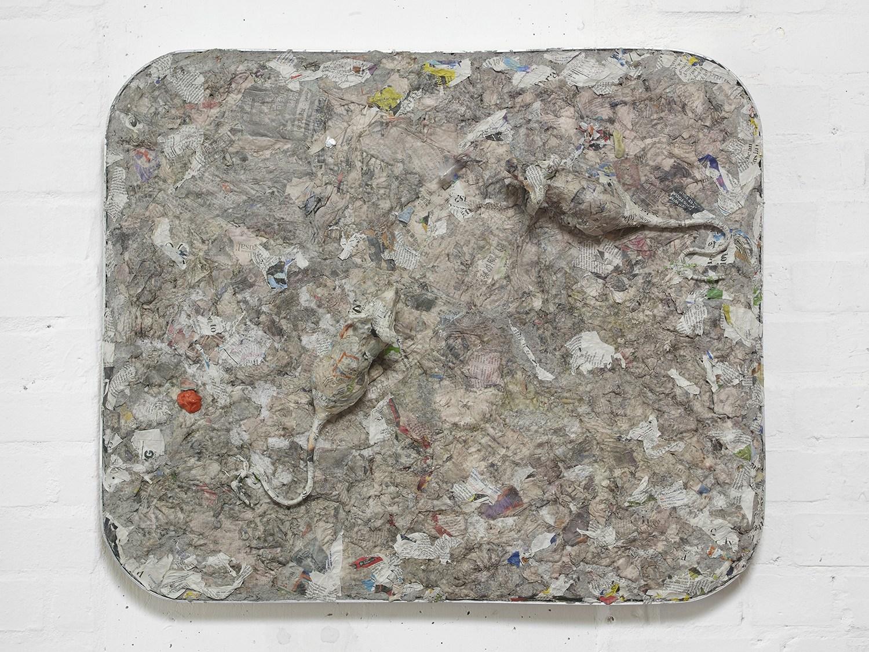 Liz Craft,  Norwegian Wood , 2018, Papier-mache, mixed media, aluminum, wood, 67.3 x 80 x 5 cm / 26.5 x 31.5 x 2 in