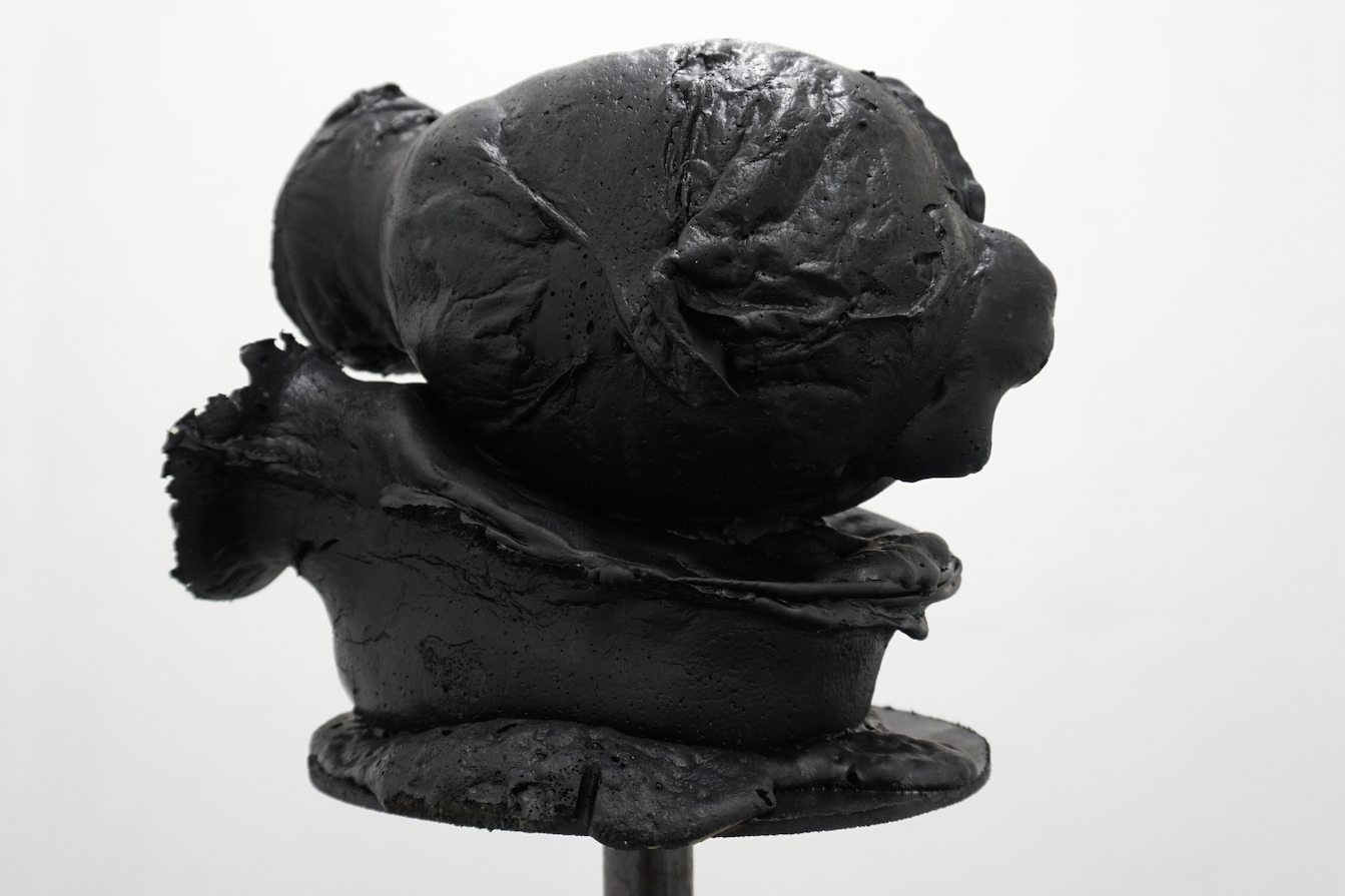 Brandon Ndife,  Two Blacks , 2018 (DETAIL), Cast foam and rubber, 40 x 13 x 8 inches