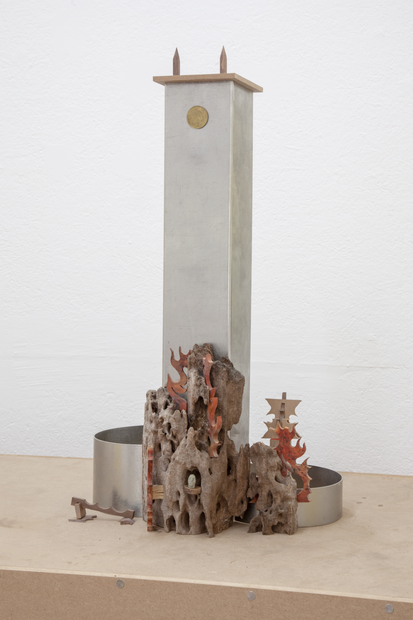 Harry Gould Harvey IV,  Reagan Klan , 2018, Foraged Wormy Apple Wood From Former Citibank™ Founder's Estate, Clay Foraged, from Swans Island, Sunoco™ Millennium Commemorative Coins, Chakta Viga Burl, and Scrap Metal from Whole Foods™, 26 x 16 x 11 inches