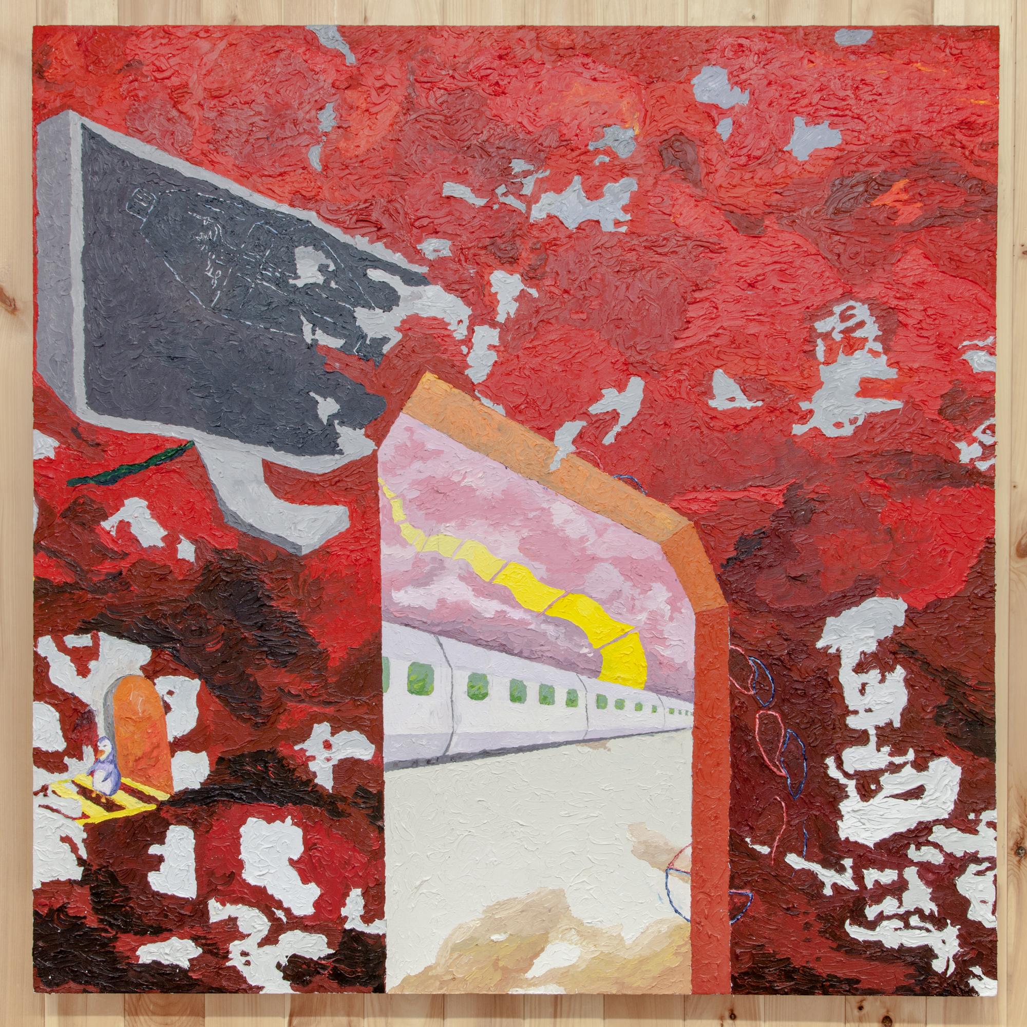 Jesse Sullivan,  Negative Land , 2018, Oil on Canvas, 60 x 60 inches