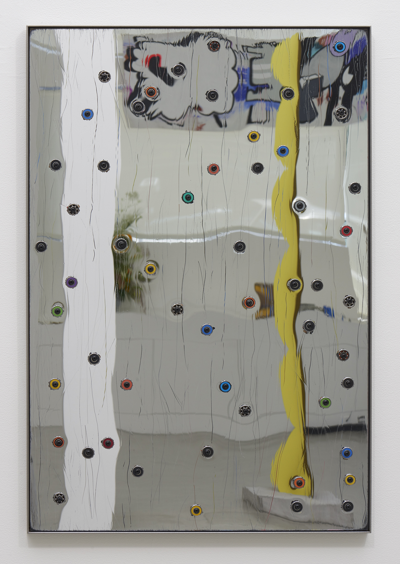 """Davina Semo,  """"USE THE MIRROR,"""" SHE TOLD ME, """"THE MIRROR IS A TOOL """", 2018, Acrylic mirror, oriented strand board, assorted ball bearings, hardware, stainless steel, 38 x 25 inches"""