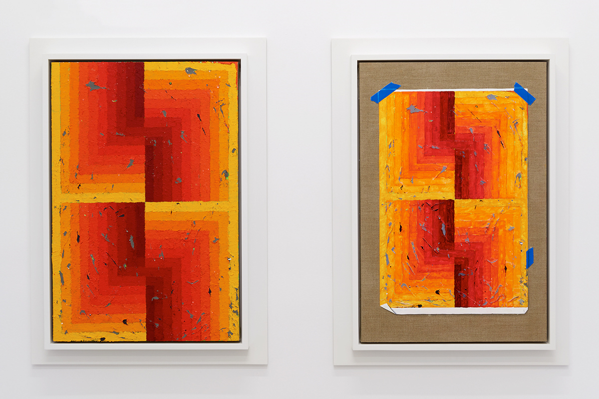Julian Hoeber,  Execution Changes #95A & 95B (CS, Q1, URJ, DC, Q2, LLJ, DC, Q3, LLJ, DC, Q4, URJ, DC) , 2018, Acrylic on linen and acrylic and gouache on linen. Two panels, framed: 36 x 26 inches