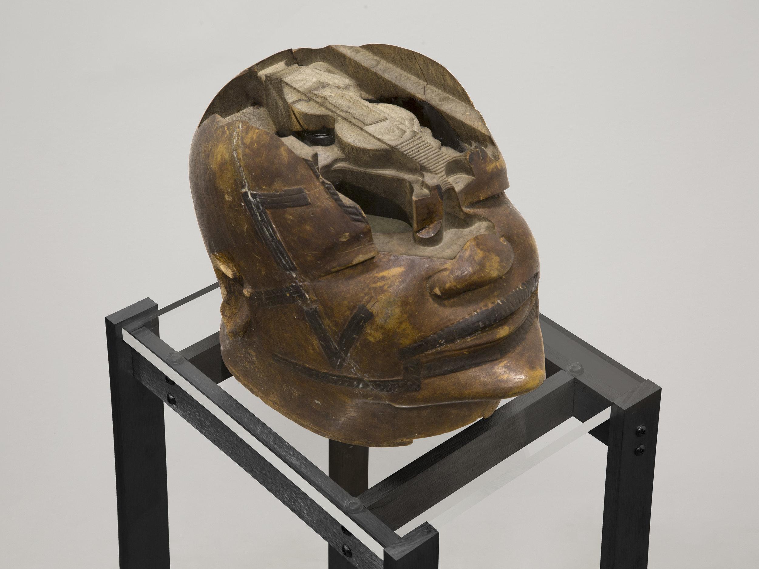 Matthew Angelo Harrison,  Synthetic Lipiko - Caliper Study , 2018, Wooden sculpture, anodized aluminum, acrylic. 56 x 21 1/2 x 22 3/4 inches