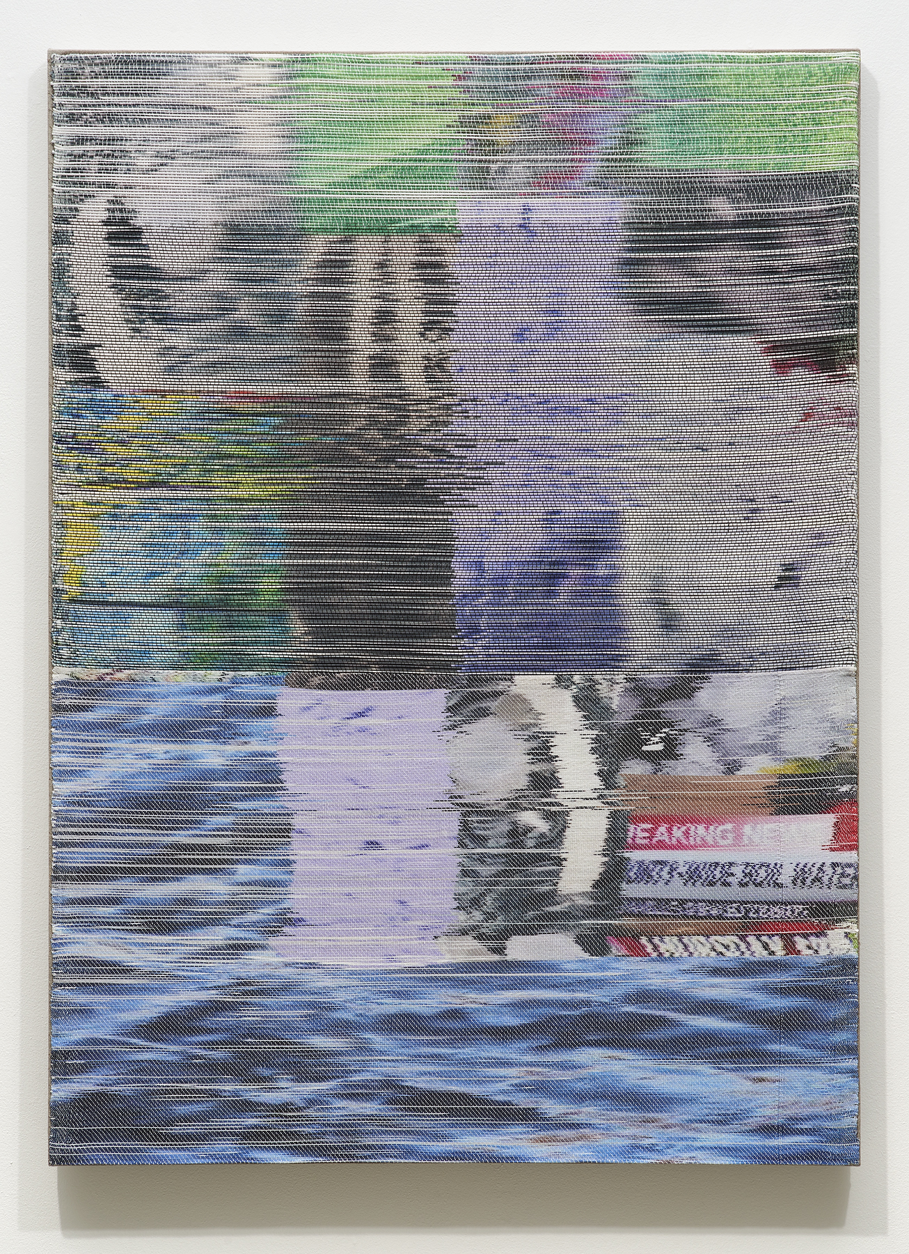 Margo Wolowiec,  Purple Rain I , 2018, Handwoven polymer, linen, dye sublimation ink, 51 x 37 inches