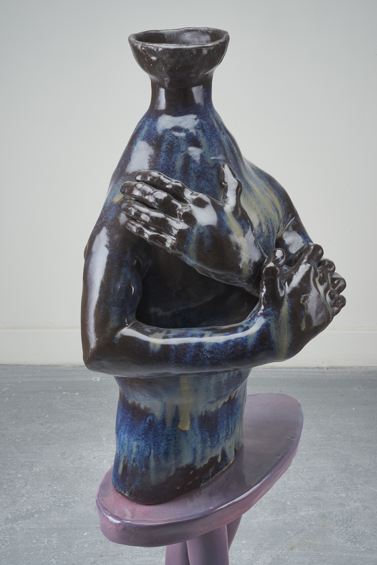Woody De Othello,  Sometimes spending too much time alone leads to loneliness , 2018, Ceramic, glaze, 44 x 17 x 5 inches