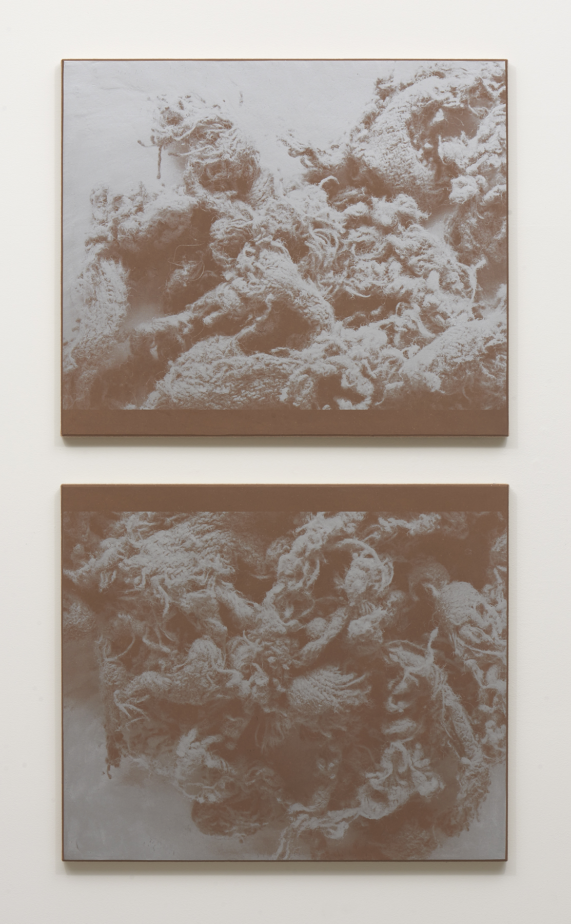 N. Dash , Untitled, 2018, Adobe, silkscreen ink, jute, wood and aluminum support, Two panels, each: 39 x 33 inches