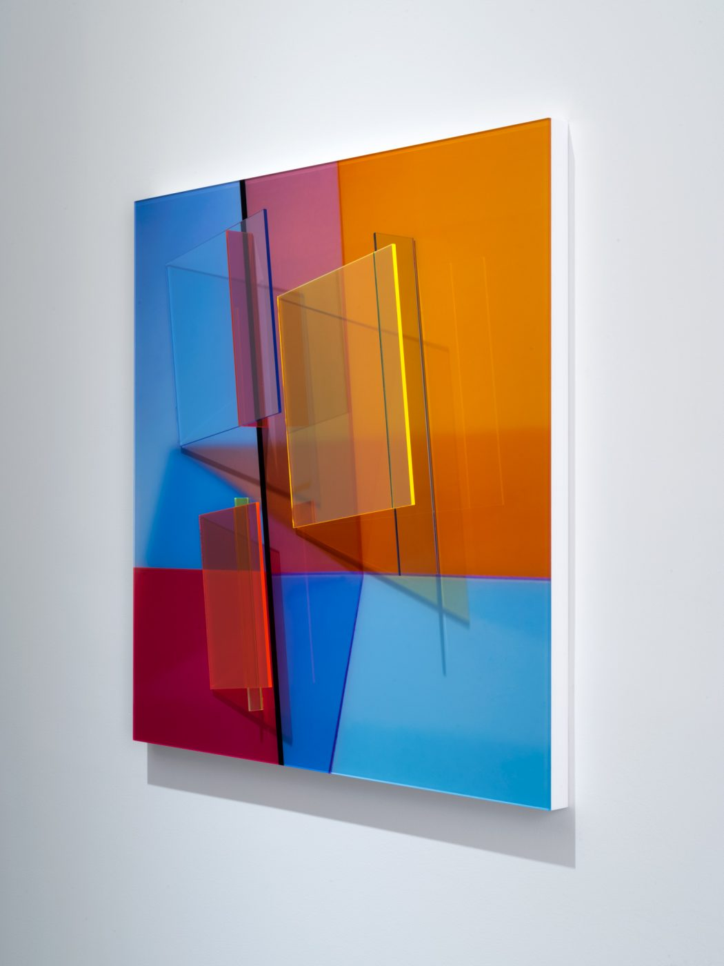 Barbara Kasten,  Progression One , 2017, Fujiflex digital print, fluorescent acrylic, 36 x 36 x 5 5/8 inches