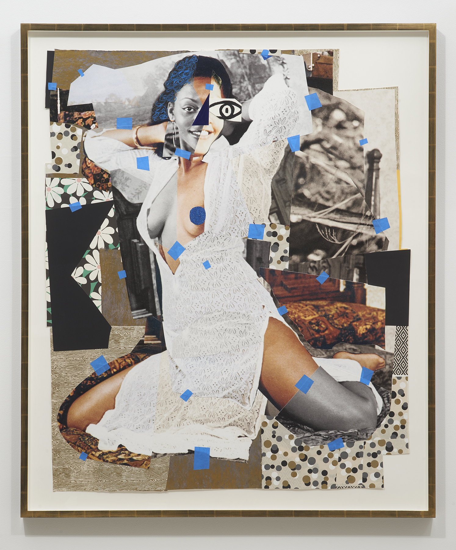 Mickalene Thomas,  Jet Blue #3 , 2018, Oil paint, glitter, tape, charcoal and oil pastel on paper, 54 1/4 x 44 1/2 inches