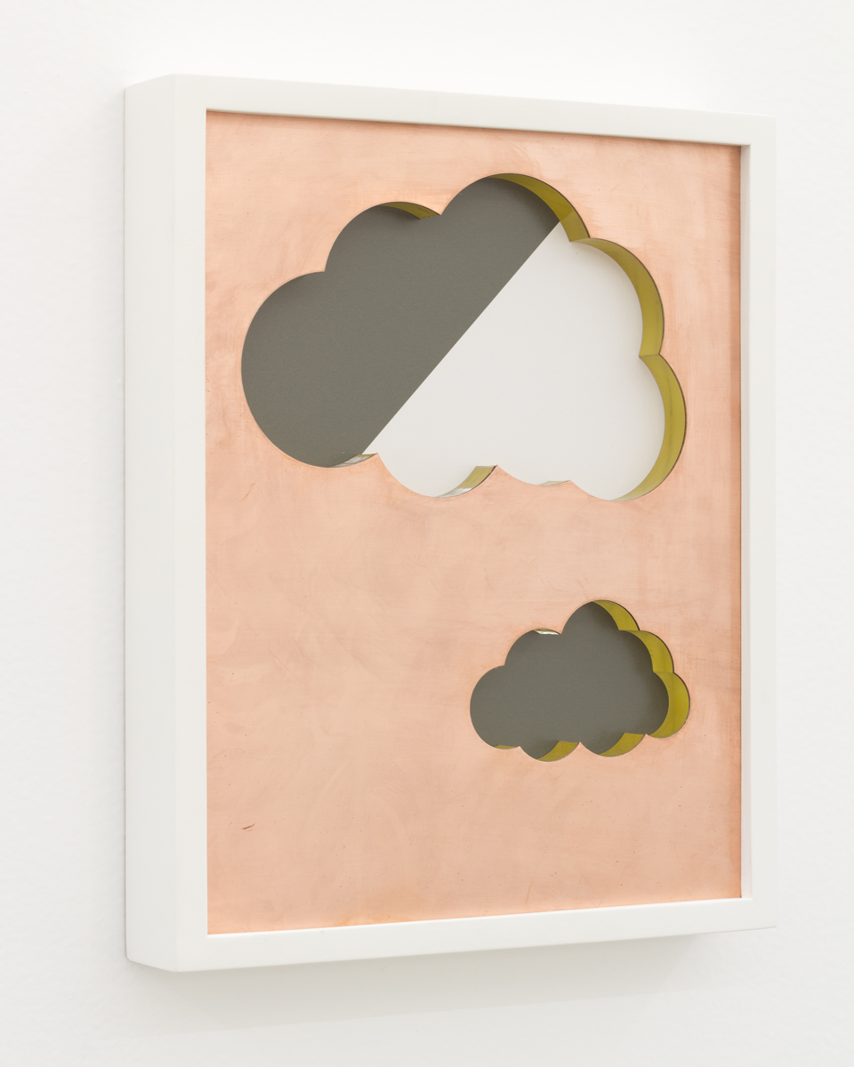 Ivan Iannoli,  Clouds,  2018, Copper, spray enamel on cast acrylic, pigment print, 8 x 10 inches
