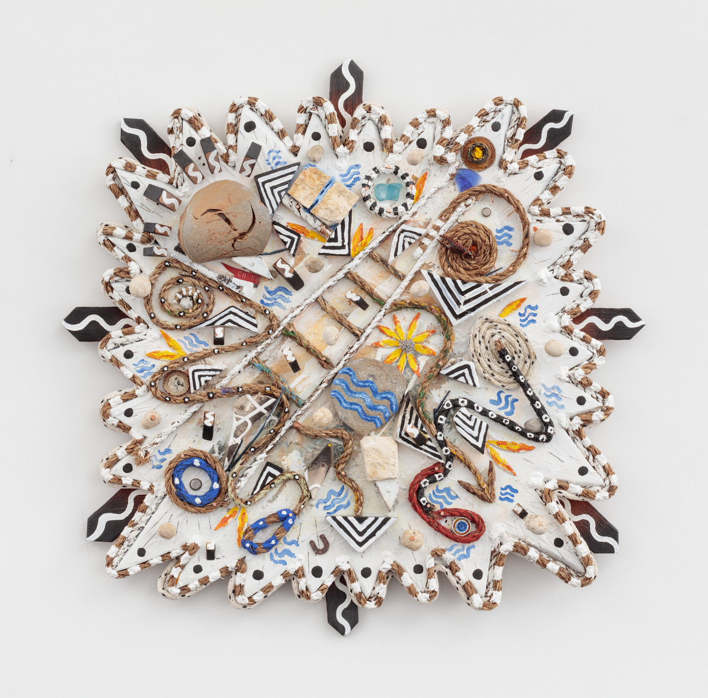 Daniel Rios Rodriguez and Kate Newby,  Passiflora Pirate Utopia , 2018, Oil, acrylic, rope nails, wood and other found materials on wood panel, 29 x 29 inches