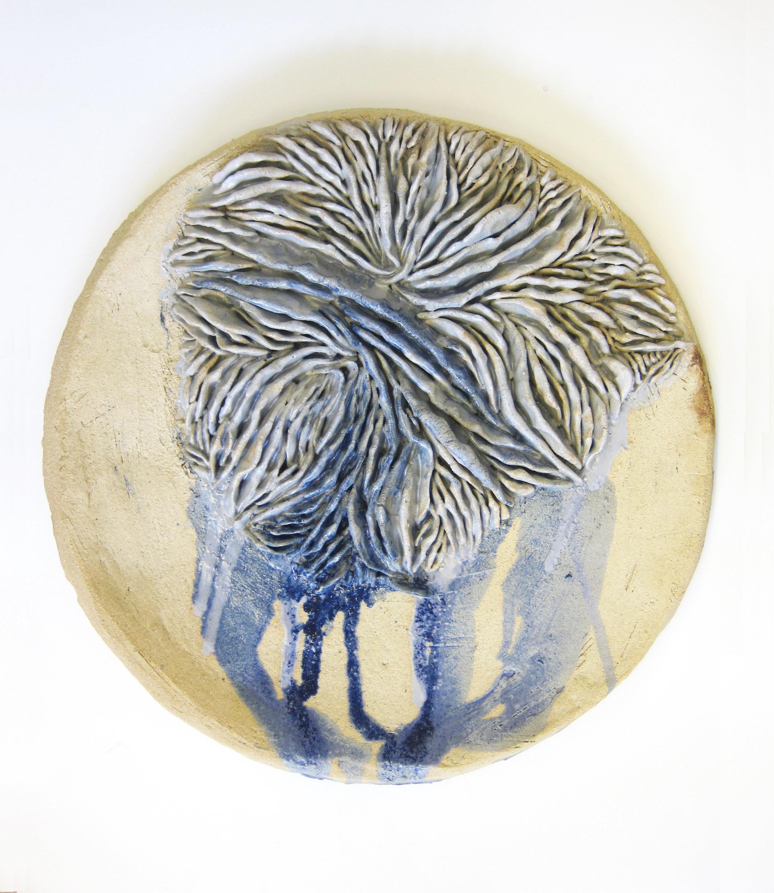 "Nicki Green,  Texture Studies (gills) , 2018. Glazed stoneware. 17"" x 17"" x 3"""