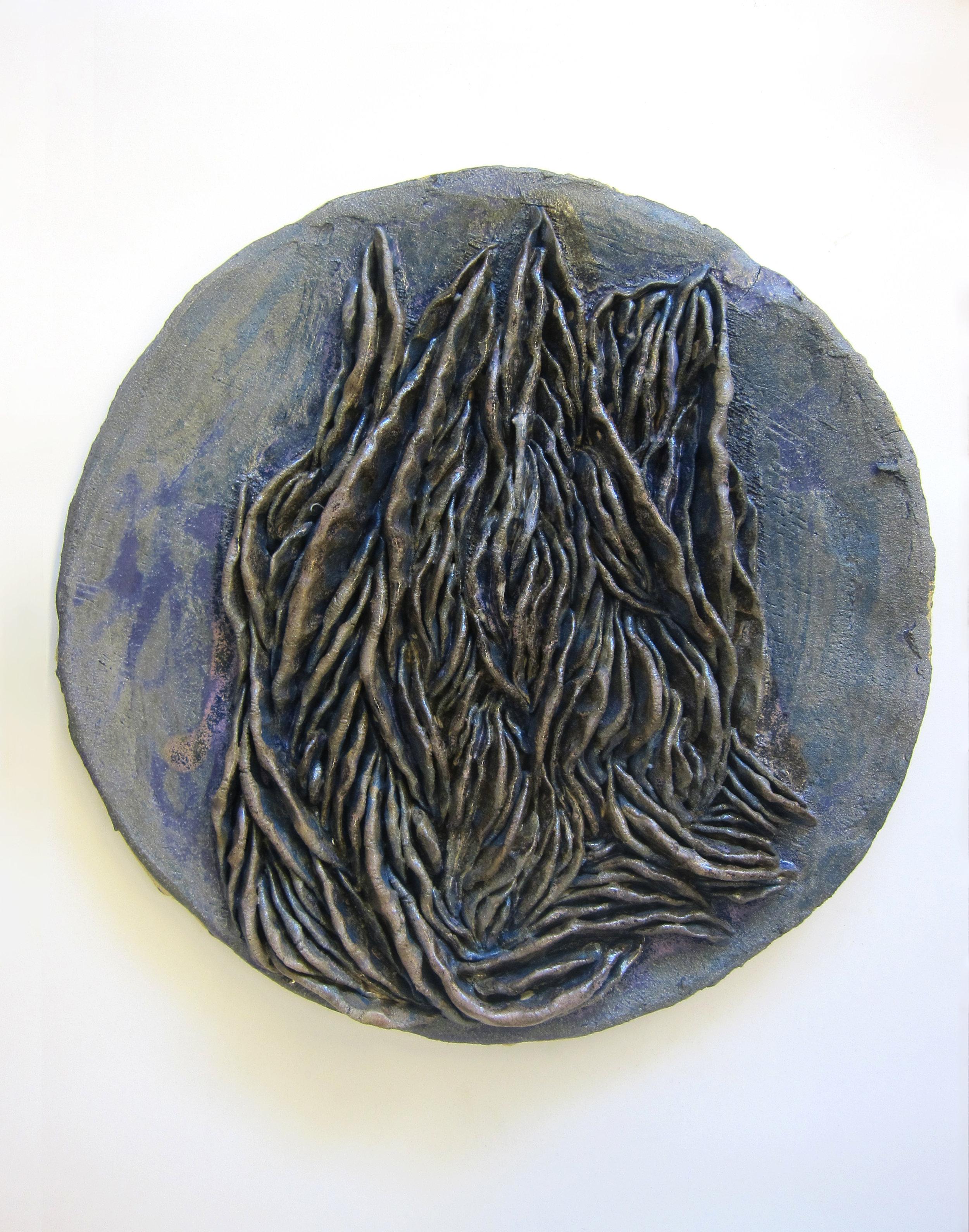 "Nicki Green,  Texture Studies (gills) , 2018. Glazed stoneware. 17"" x 17"" x 3"" each"