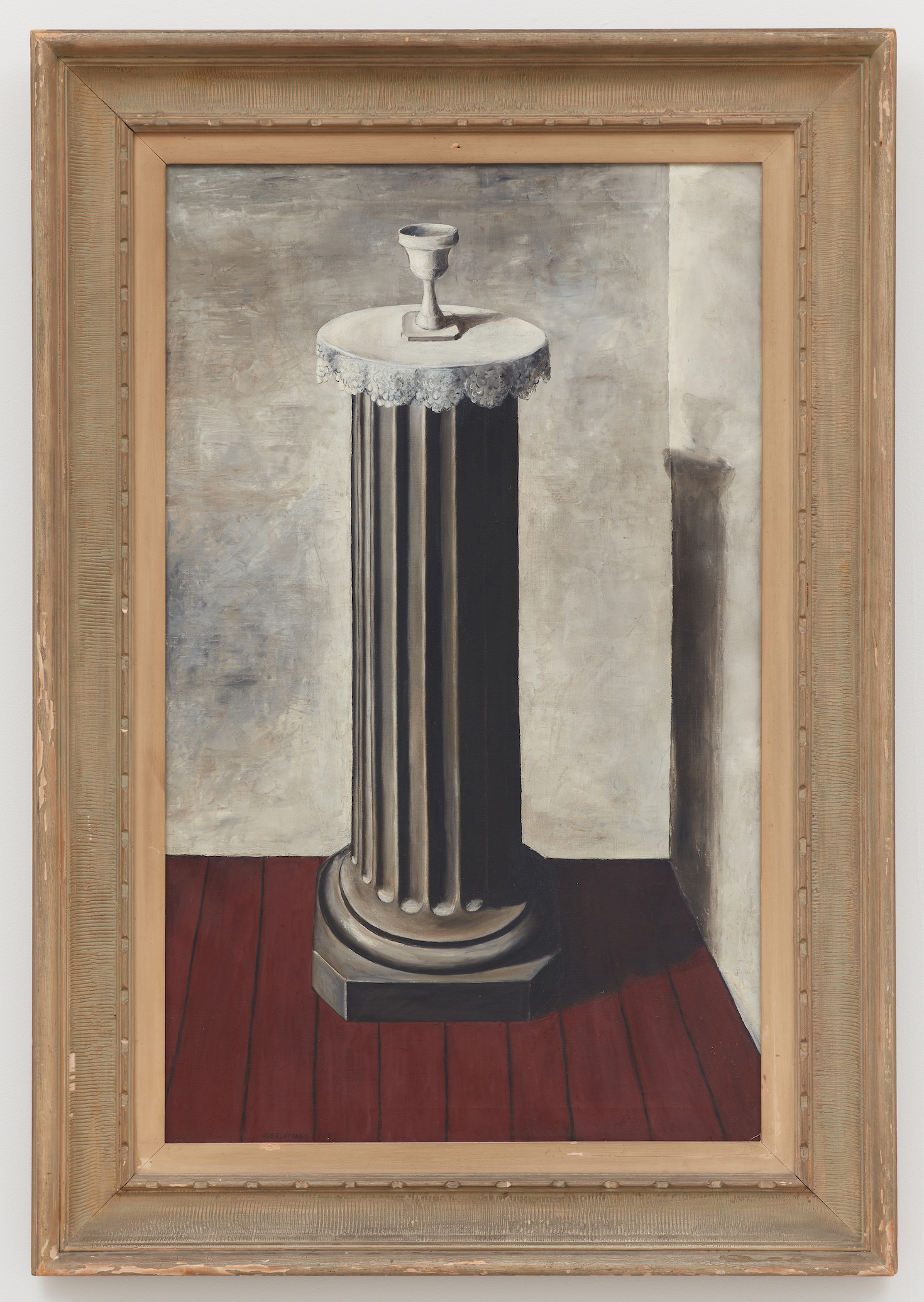 The Pedestal,  1938, Oil on canvas, 36 1/4 × 22 1/4 inches (unframed); 45 × 31 1/4 inches (framed). Illinois State Museum, Illinois Legacy Collection, Gift of the Gertrude Abercrombie Trust.