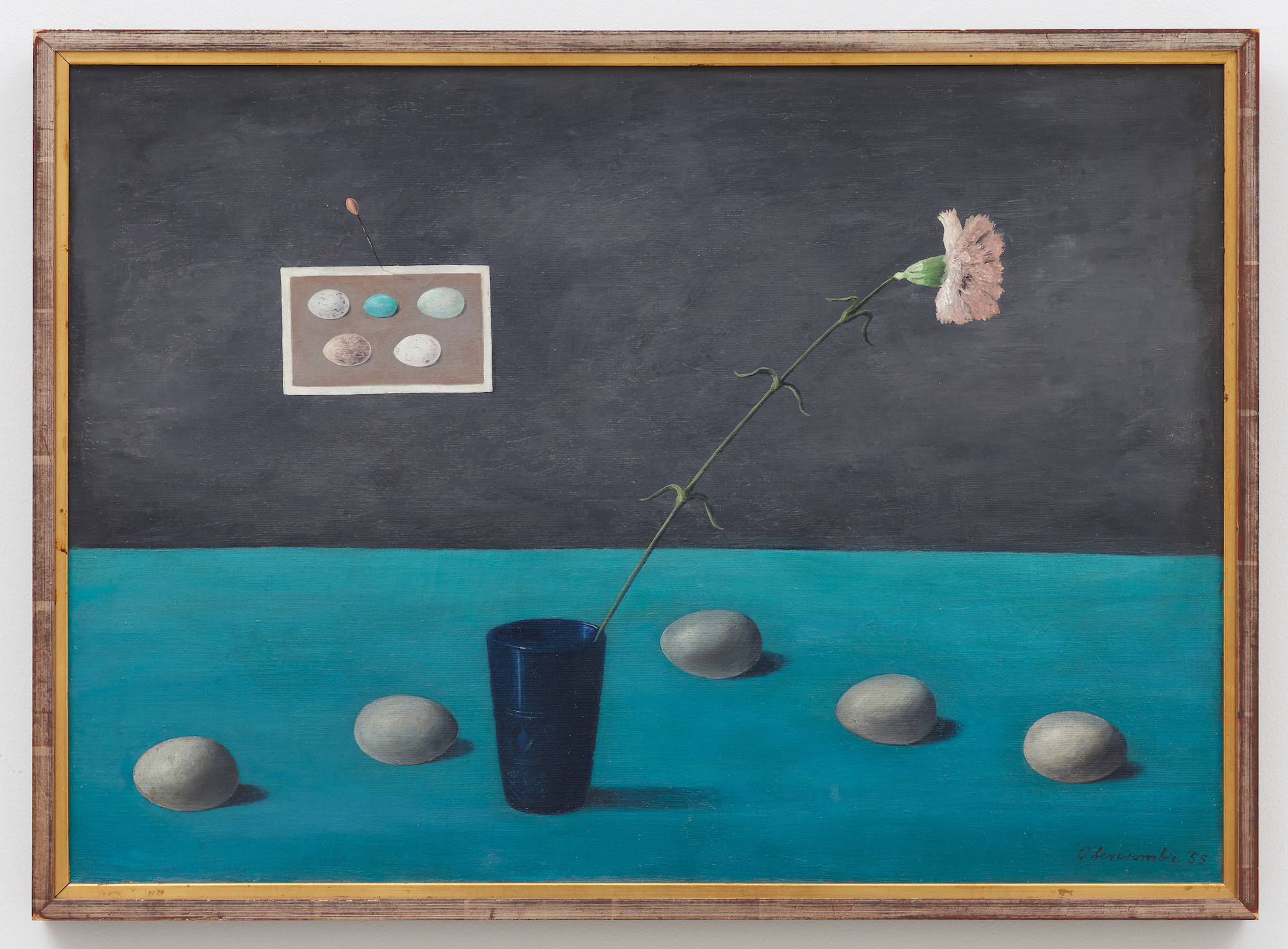 Eggs and Carnation , 1955, Oil on canvas, 20 × 28 inches (unframed); 21 1/2 × 29 1/2 inches (framed). Collection of Laura and Gary Maurer