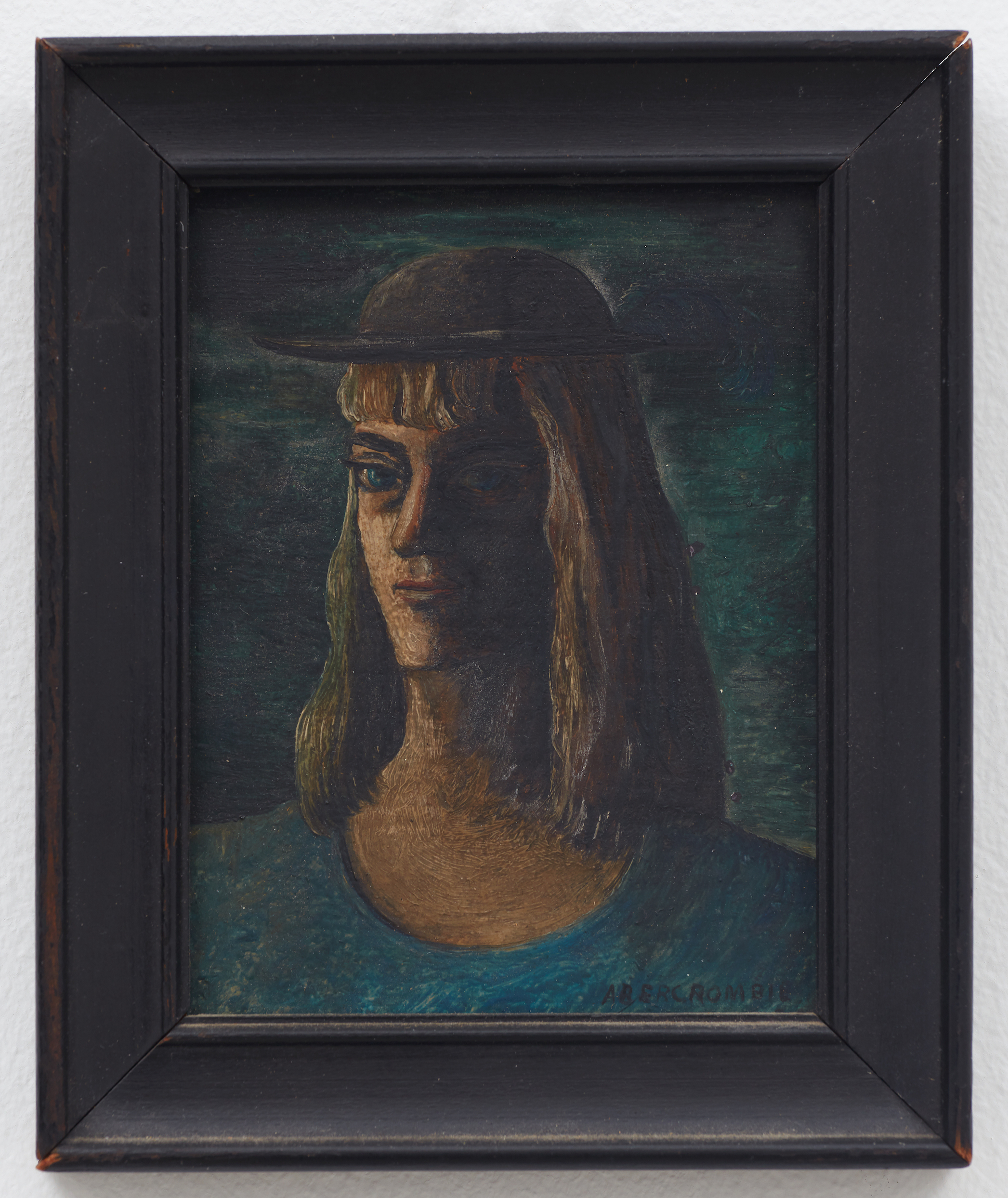 Self Portrait,  n.d., Oil on masonite, 4 1/2 × 3 1/2 inches (unframed); 5 1/2 × 4 3/4 inches (framed). Illinois State Museum, Illinois Legacy Collection, Gift of the Estate of Maurine Campbell.