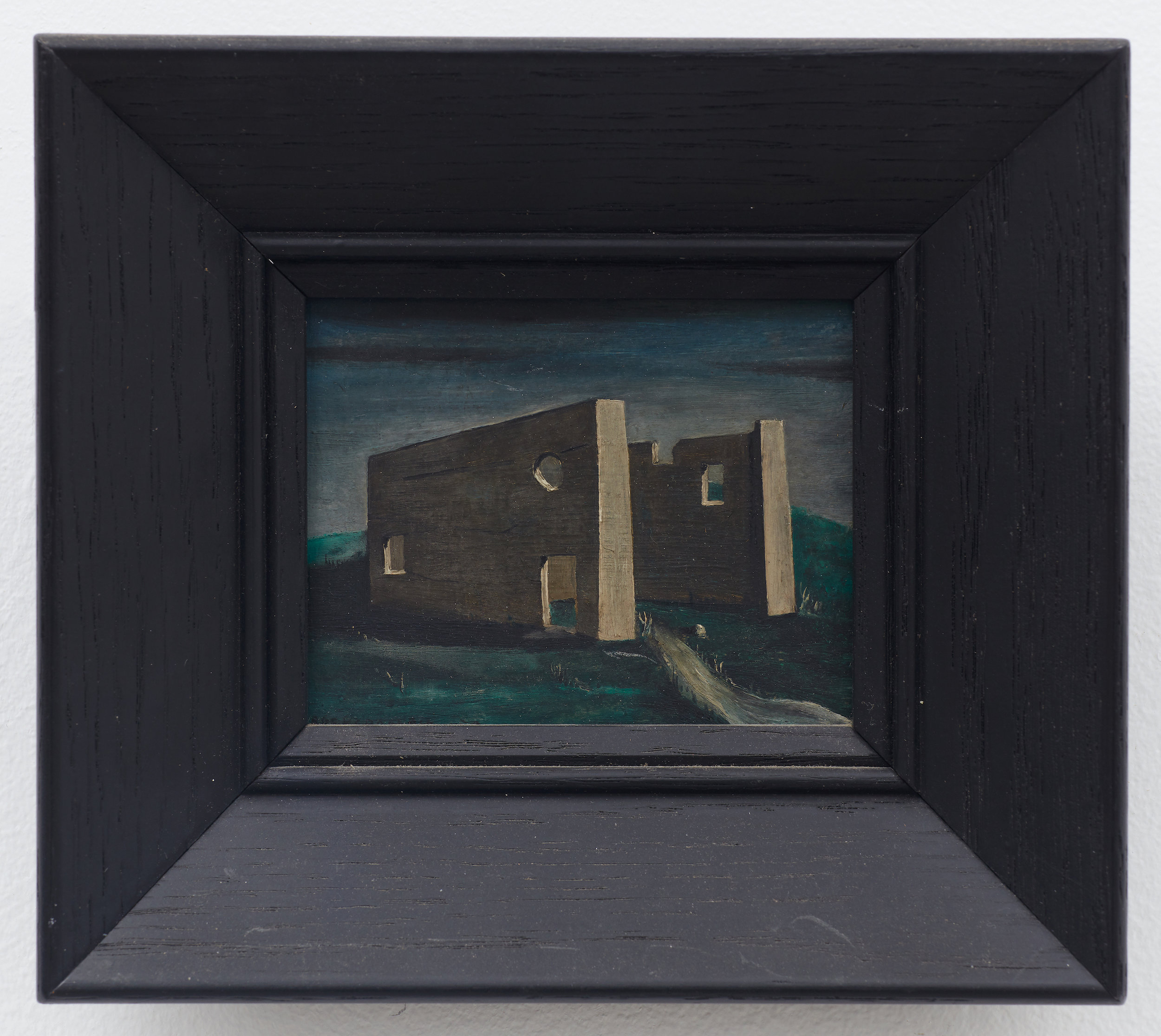 Untitled (Slaughterhouse at Aledo) , 1934, Oil on masonite. 3 1/2 × 4 inches (unframed); 6 × 7 inches (framed), Illinois State Museum, Illinois Legacy Collection, Gift of the Gertrude Abercrombie Trust. Photo: Illinois State Museum.